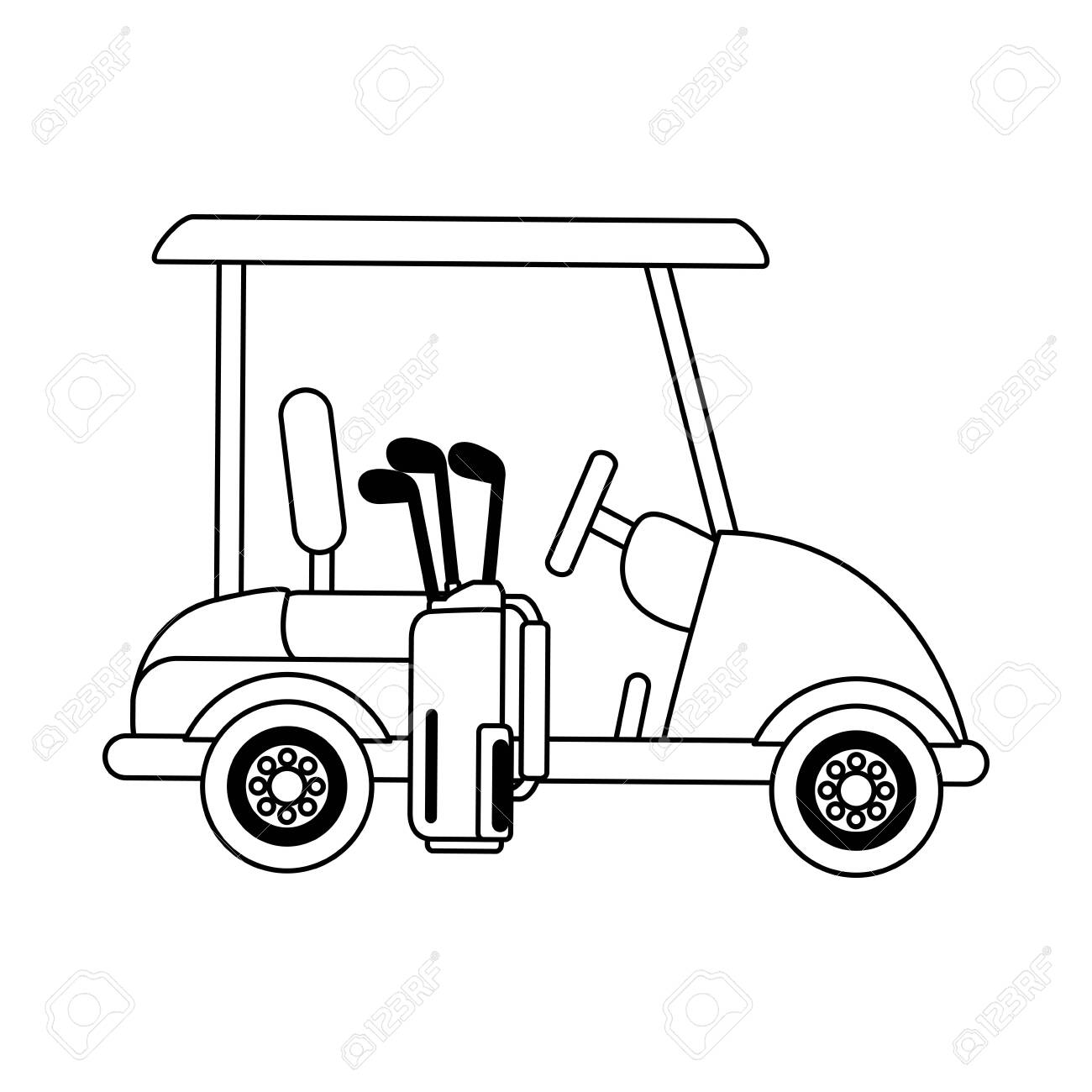 Golf Cart And Bag With Clubs Cartoon Isolated Vector Illustration Royalty Free Cliparts Vectors And Stock Illustration Image 124548384
