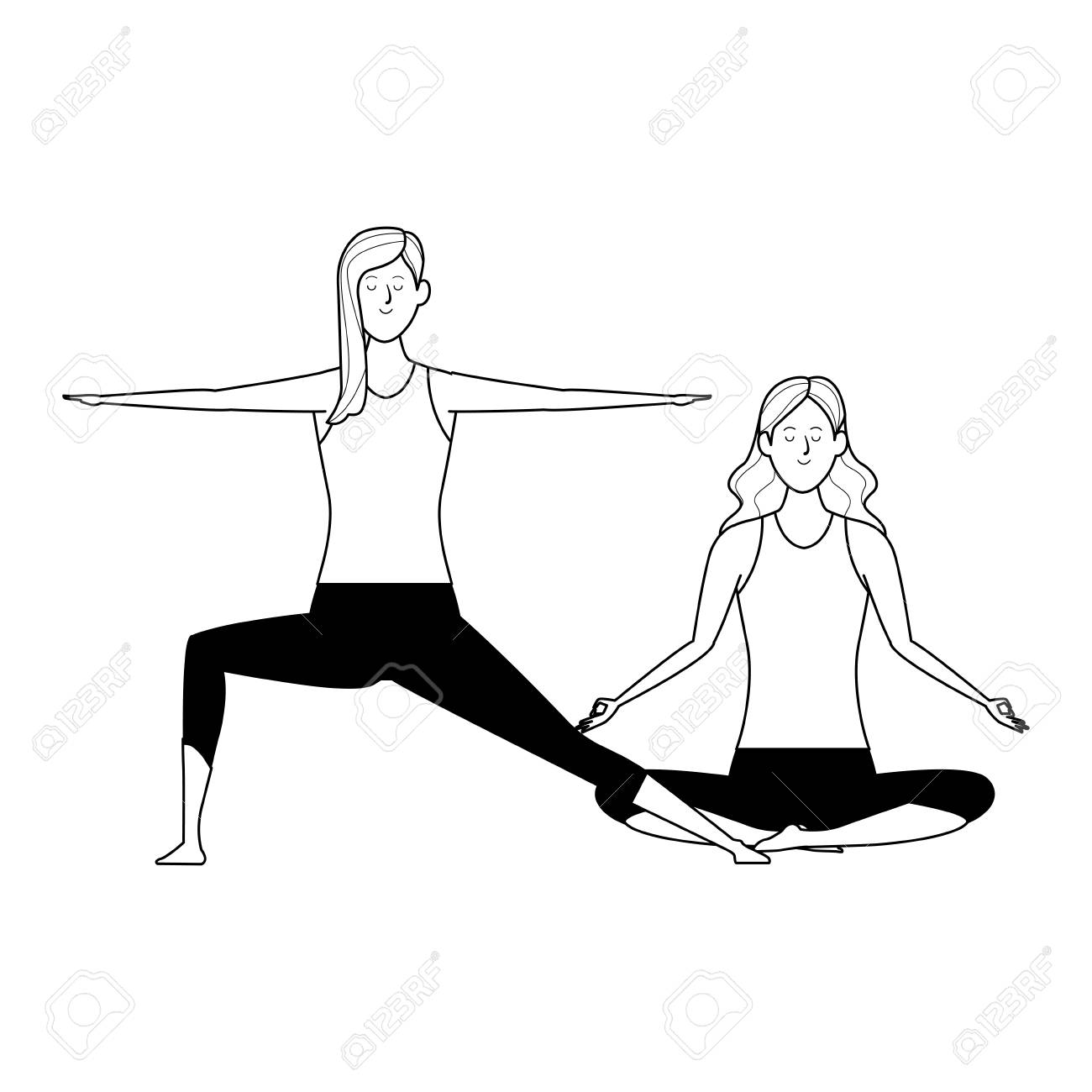 Women Yoga Poses Avatar Cartoon Character Black And White Vector Royalty Free Cliparts Vectors And Stock Illustration Image 120002369