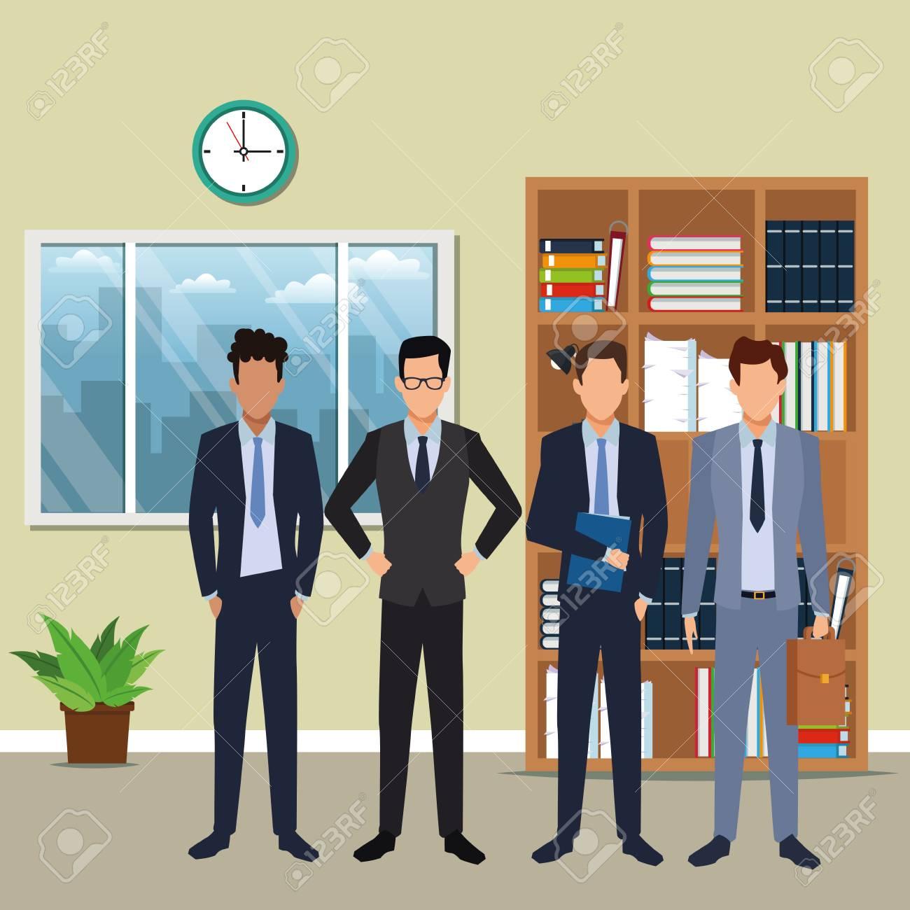 executive business men cartoon inside office building scenery vector illustration graphic design - 120441607