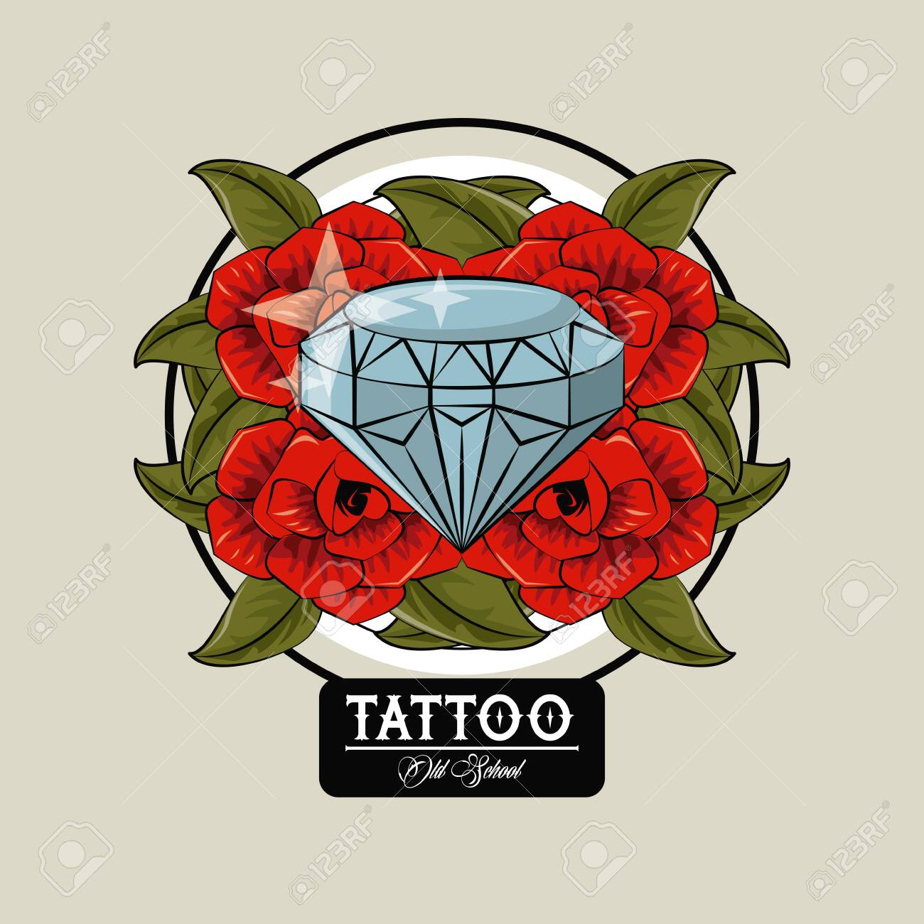 Tattoo studio old school drawings diamond and roses emblem vector..