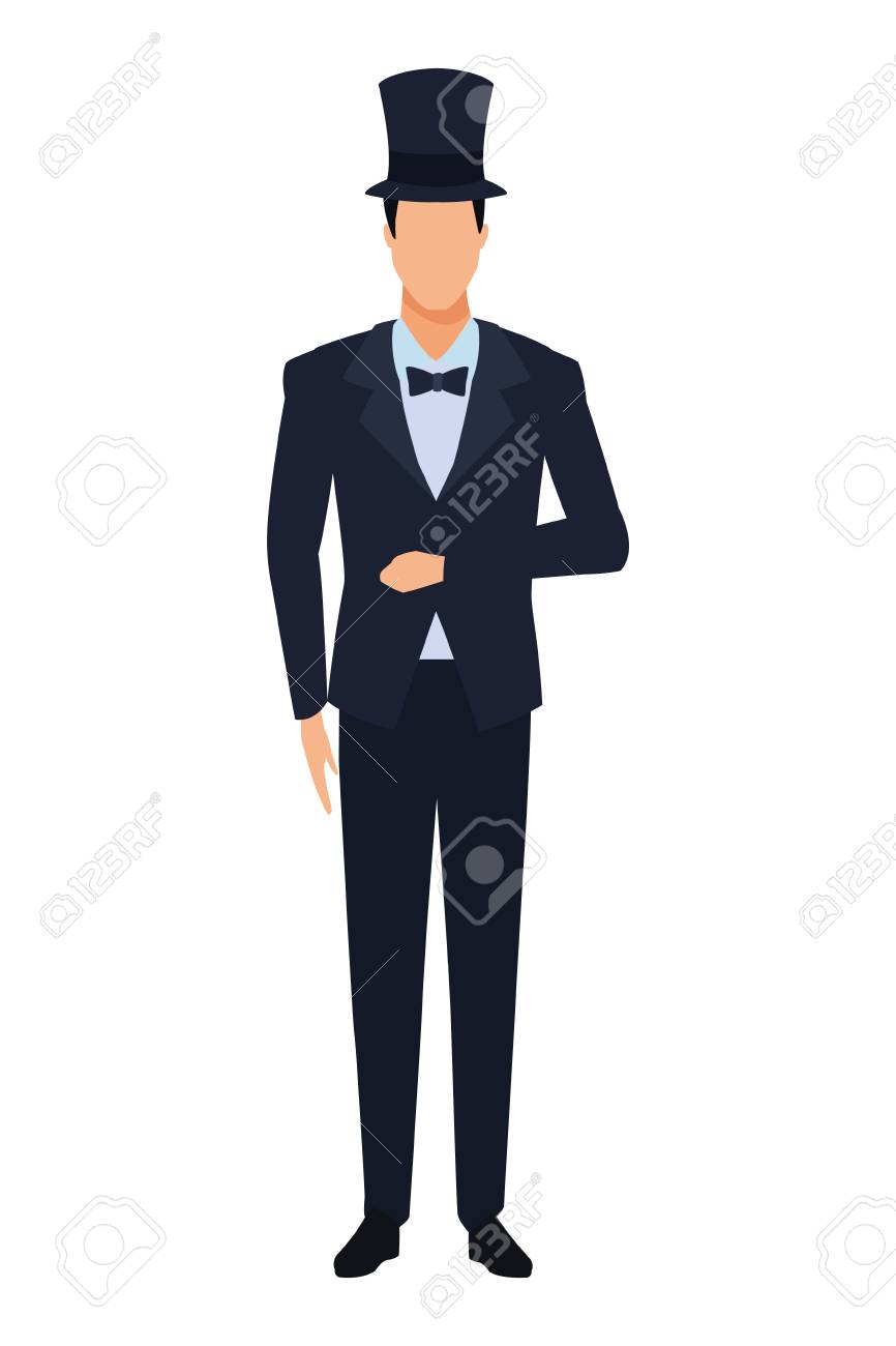 man wearing tuxedo avatar cartoon character with bow tie and top hat vector illustration graphic design - 120832615
