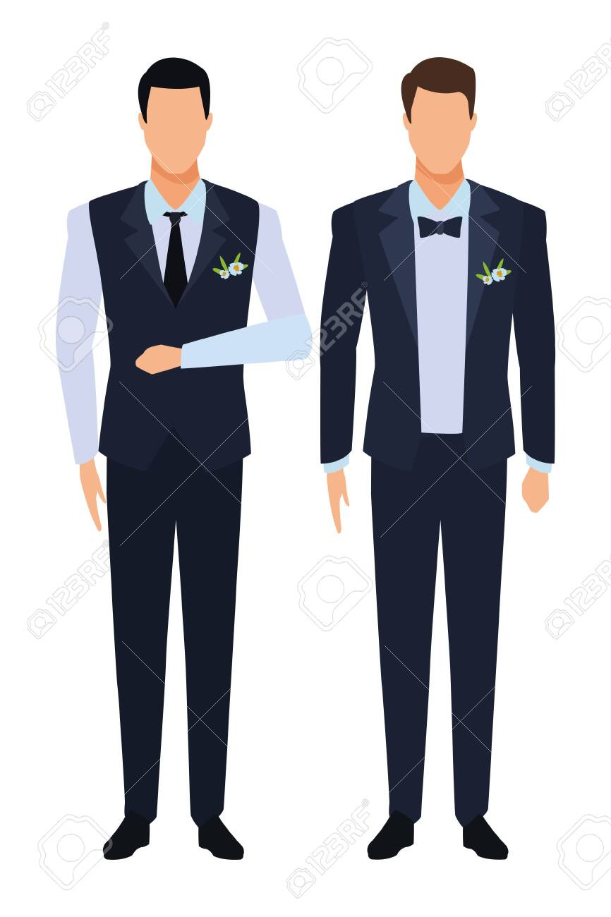 men wearing tuxedo avatar cartoon characters with tie and waistcoat vector illustration graphic design - 120833245