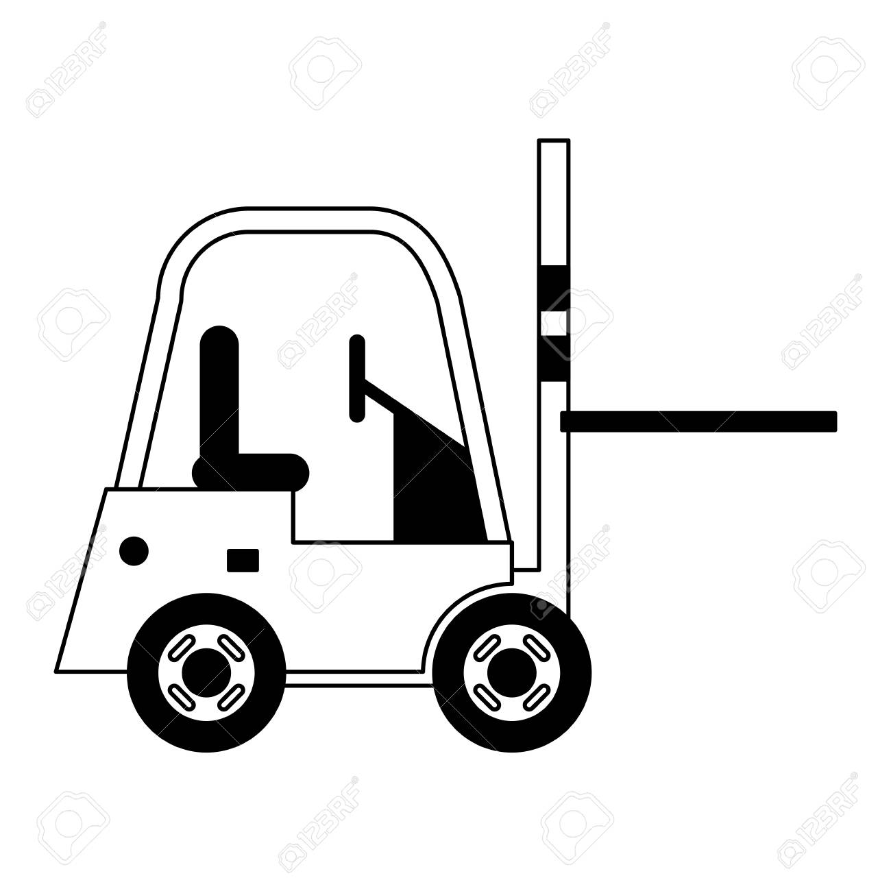 Forklift cargo vehicle sideview vector illustration graphic design - 120833881