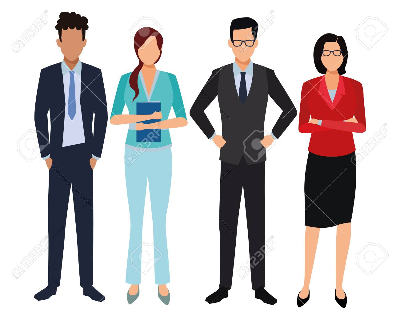 executive business coworkers cartoon vector illustration graphic design - 123250302