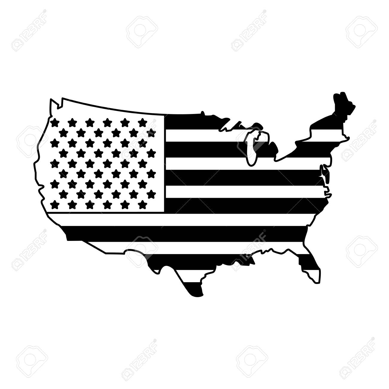 United states map outline with flag stars and stripes patriotic..