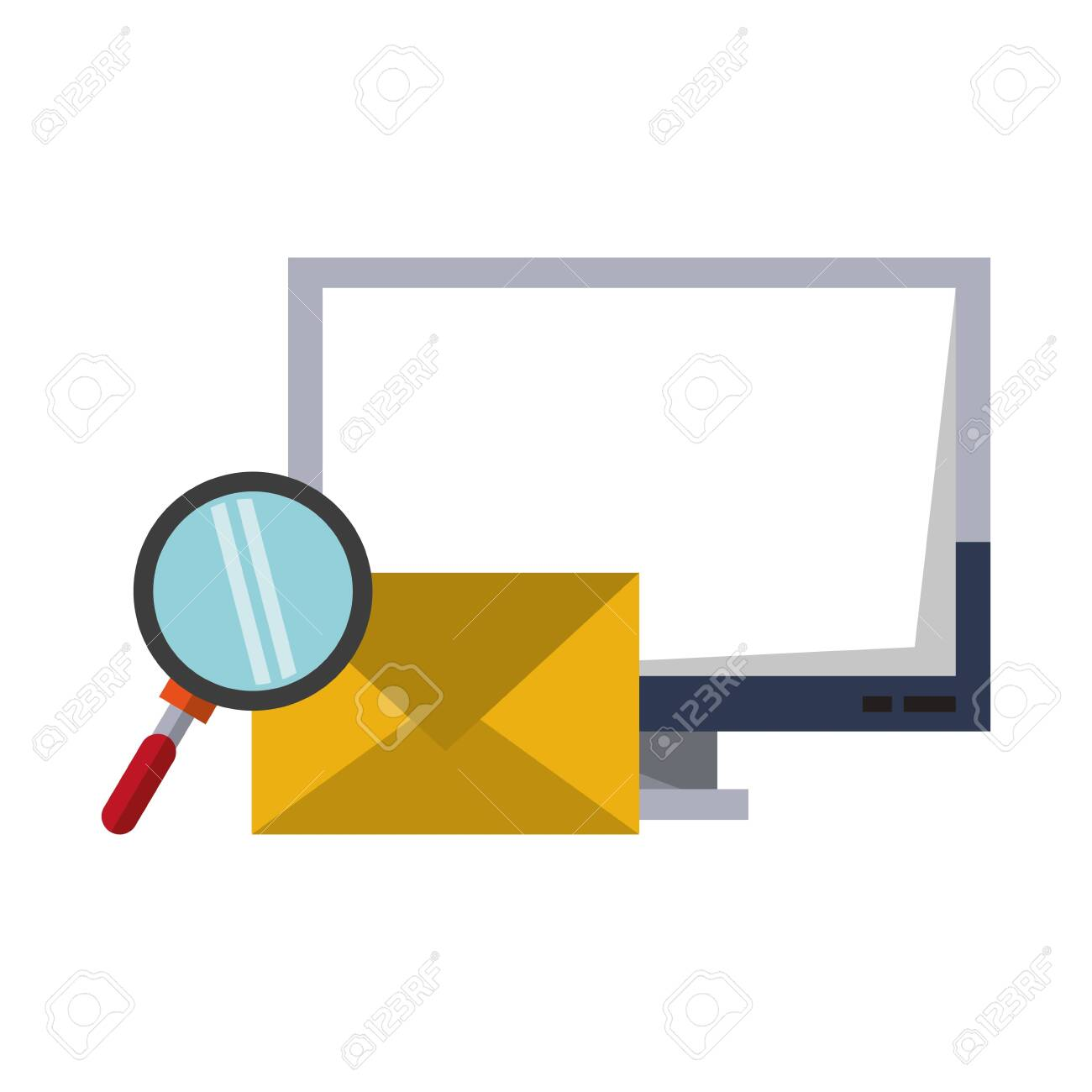 Computer email search business correspondance vector illustration graphic desing - 122895911