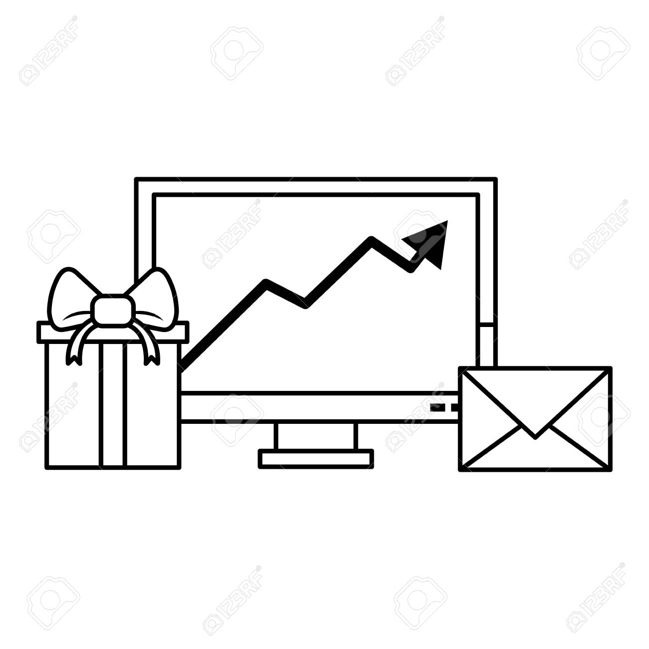 Gift delivery business tendency data logistic communication correspondance graph vector illustration graphic desing - 122897614