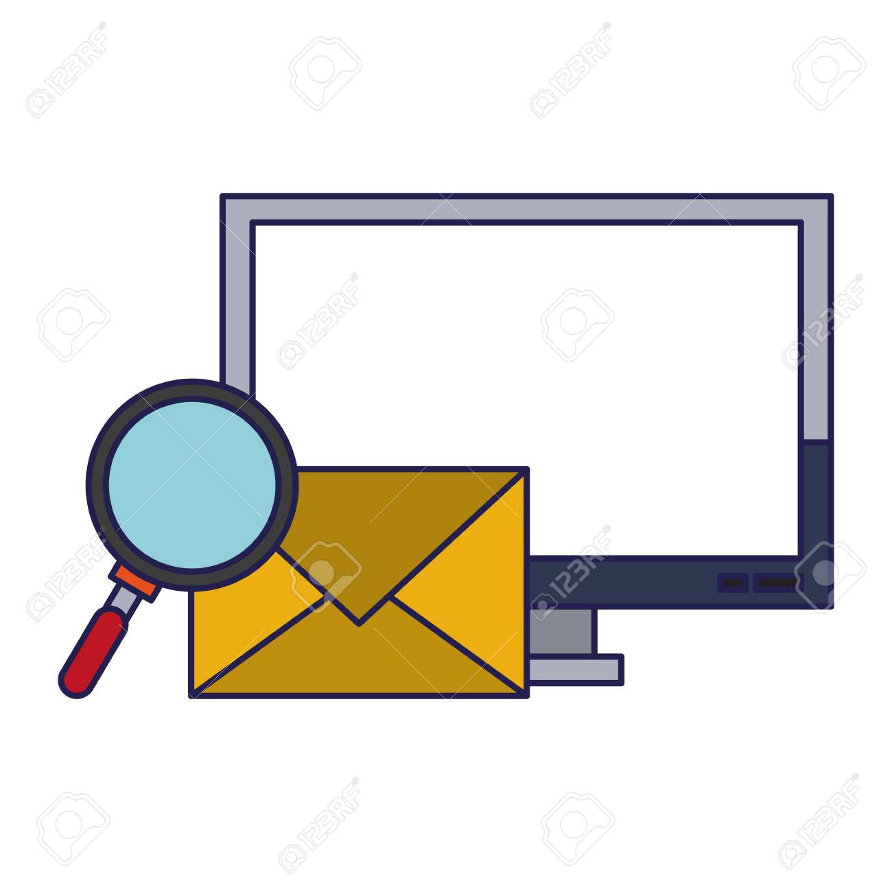 Computer email search business correspondance vector illustration graphic desing - 122853057