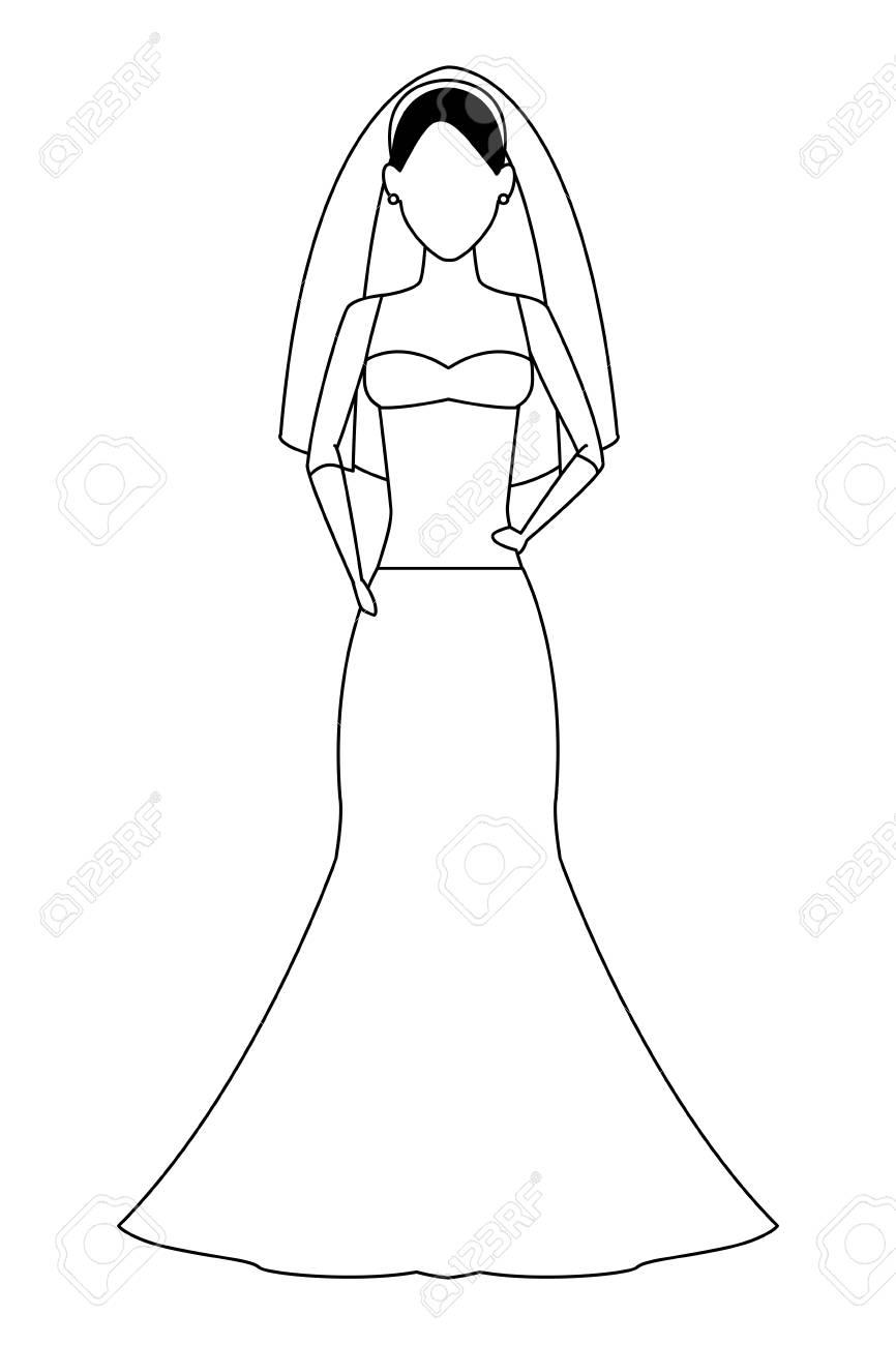 Woman Wearing Wedding Dress Avatar Cartoon Character Black And