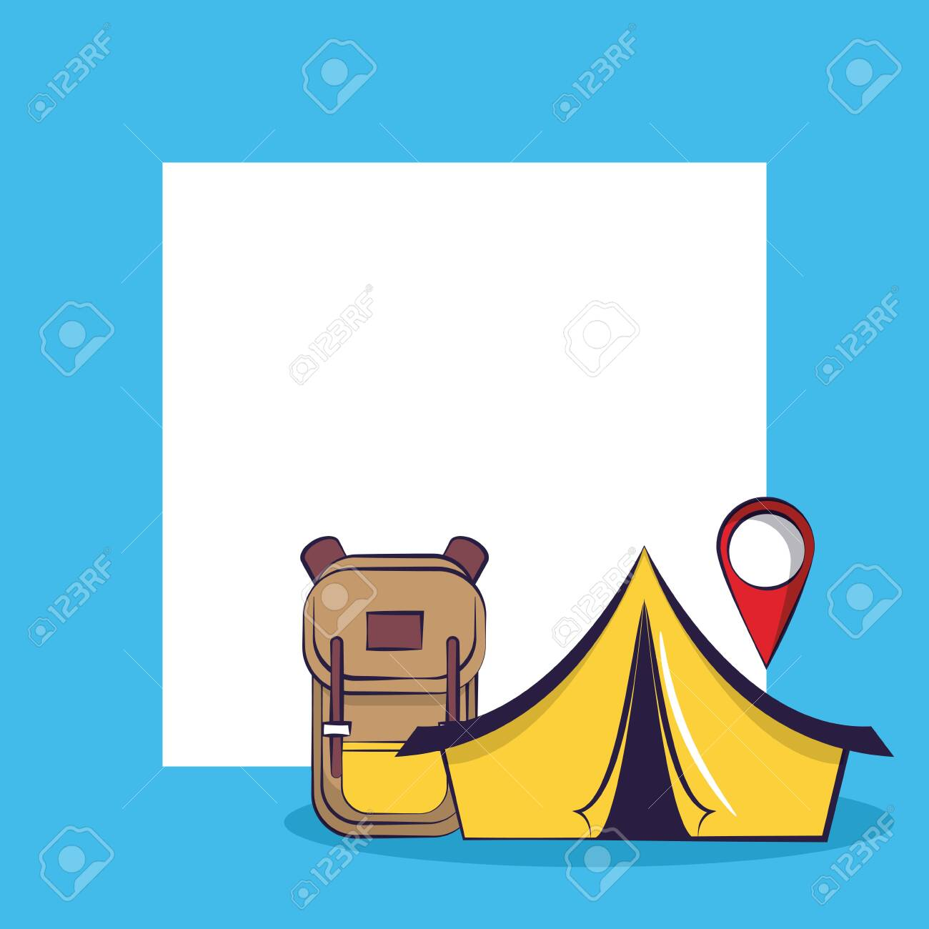 Traveling Tourism Exciting Trip Location Sign Camping Tent Backpack Royalty Free Cliparts Vectors And Stock Illustration Image 122790513