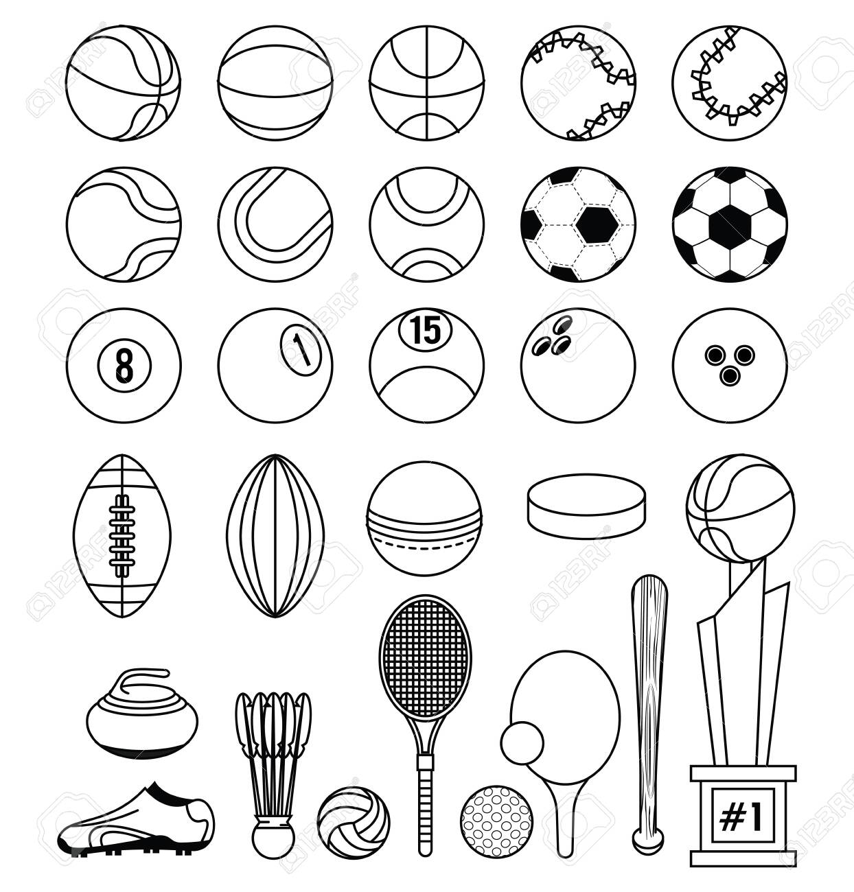 Sports balls soccer football tennis basketball tennis ping pong racket curling stone trophy fitness physical activity equipment collection black and white vector illustration graphic design - 122742026