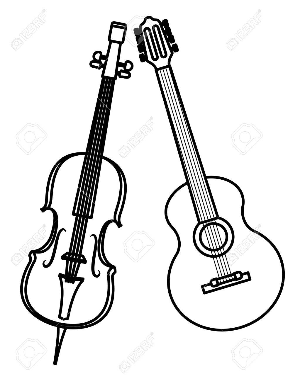 Violin And Guitar Icon Cartoon Black And White Vector Illustration Royalty Free Cliparts Vectors And Stock Illustration Image 122618890