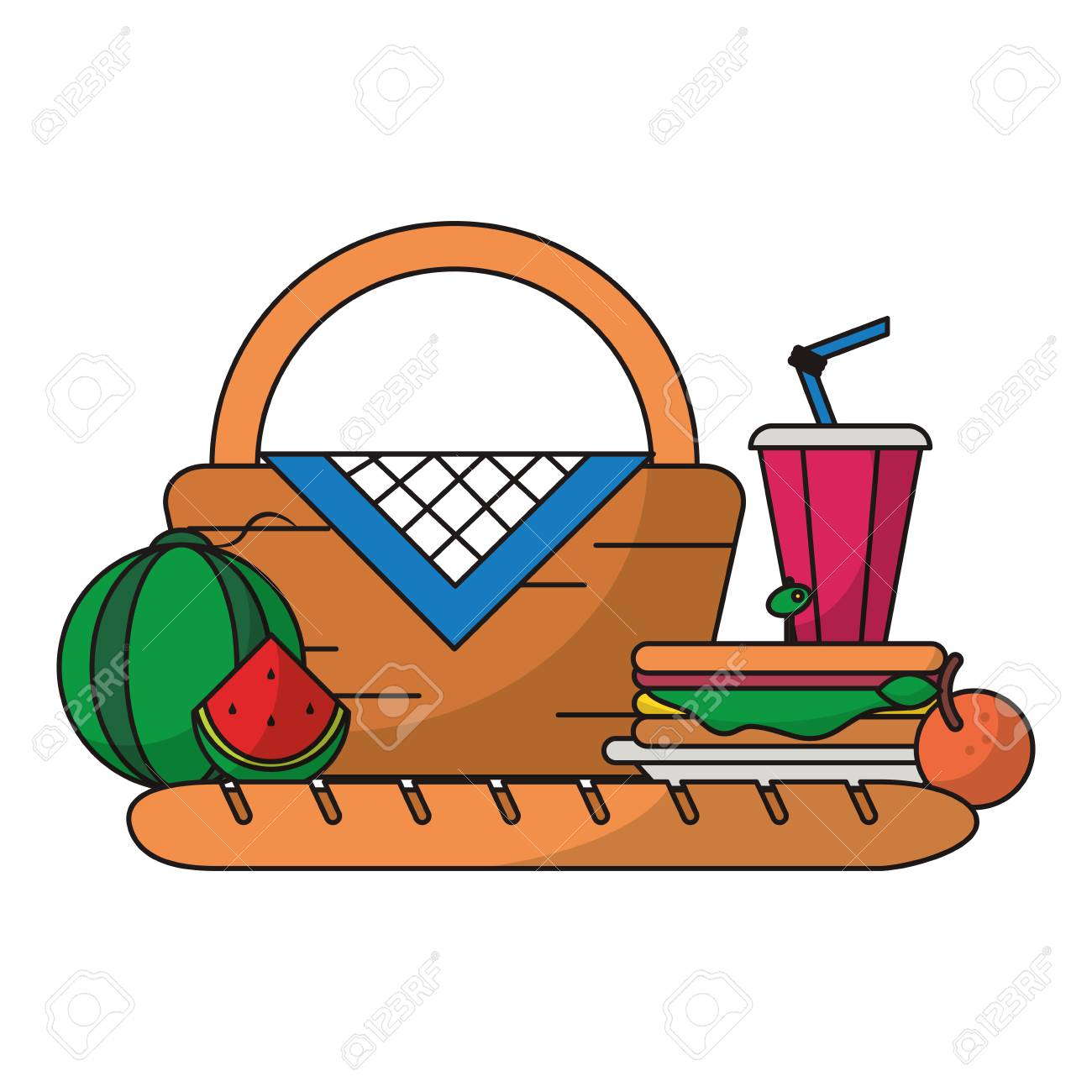 Picnic Basket With Food And Elements Cartoon Vector Illustration Royalty Free Cliparts Vectors And Stock Illustration Image 122547147