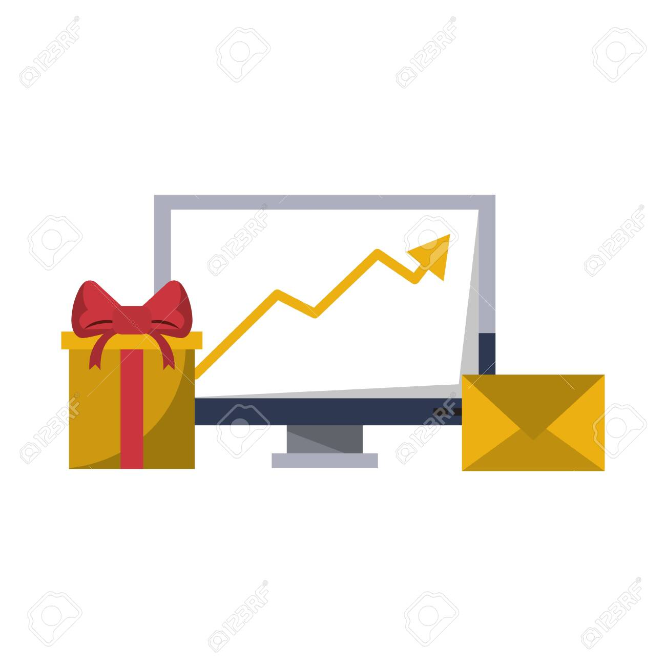 Gift delivery business tendency data logistic communication correspondance graph vector illustration graphic desing - 122472921