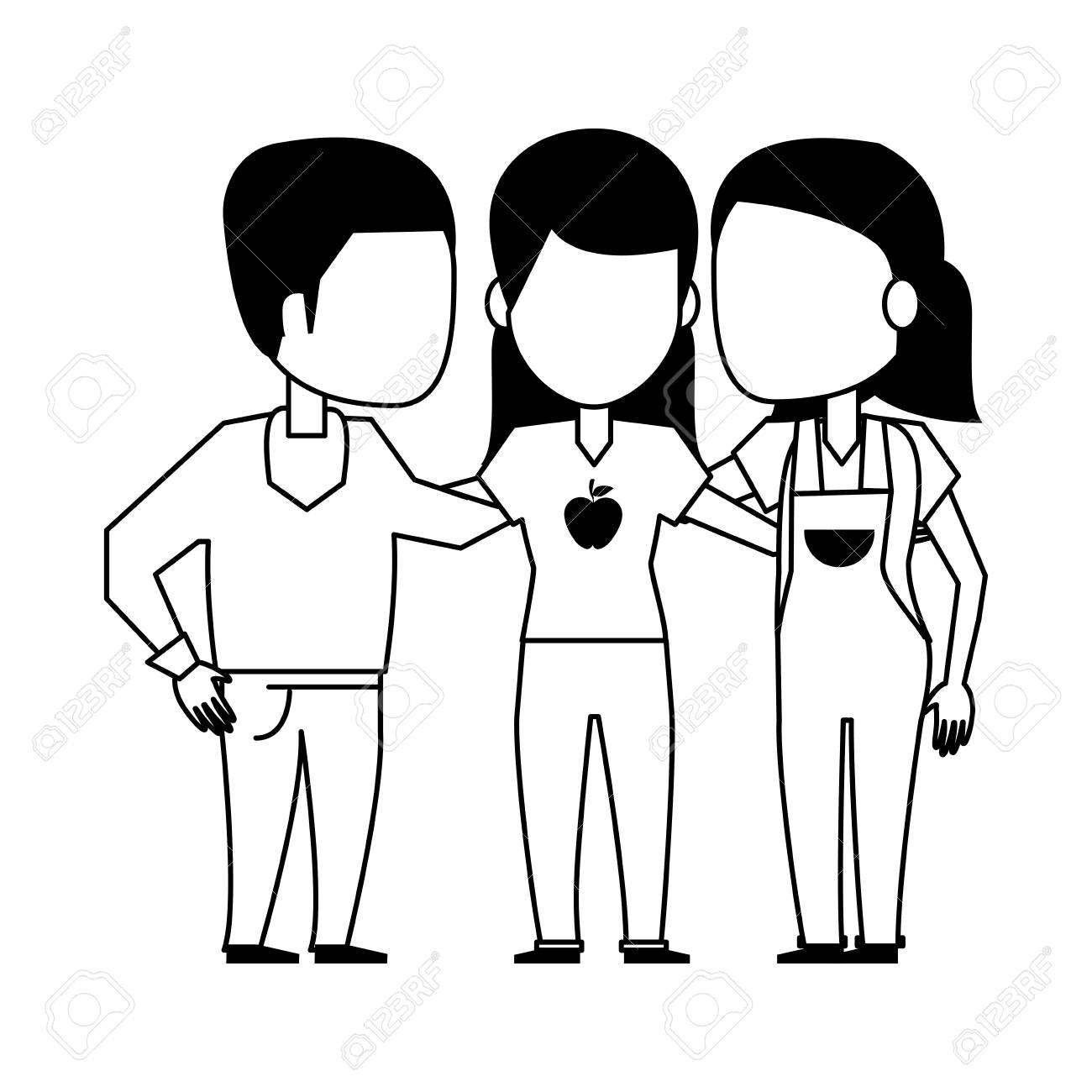 Friends Embraced Group Of People Cartoon Vector Illustration