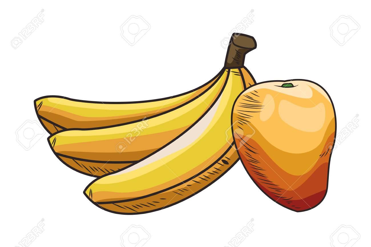 Fresh Fruit Nutrition Healthy Grouped Colorful Bananas And Mango Royalty Free Cliparts Vectors And Stock Illustration Image 122364958