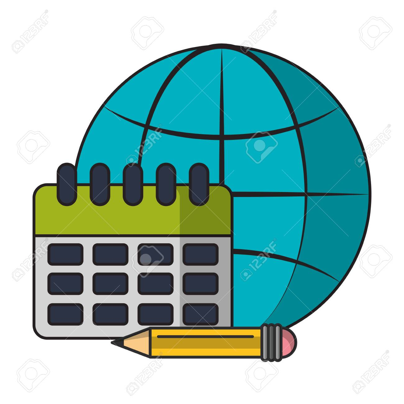 technology device internet globe icon with success work elements