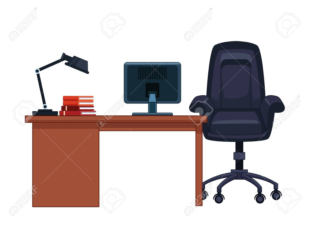 - Office Desk Icon With Lamp, Book, Computer And Chair Vector
