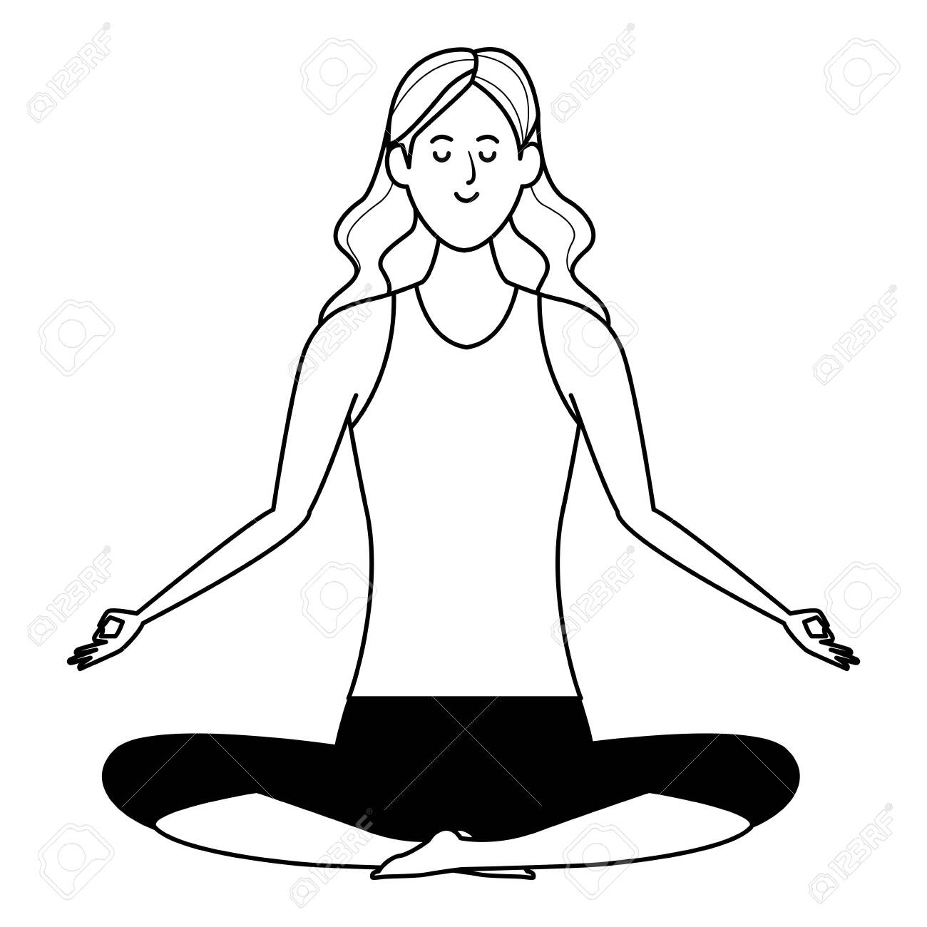 Woman Yoga Pose Avatar Cartoon Character Black And White Vector Royalty Free Cliparts Vectors And Stock Illustration Image 124135136