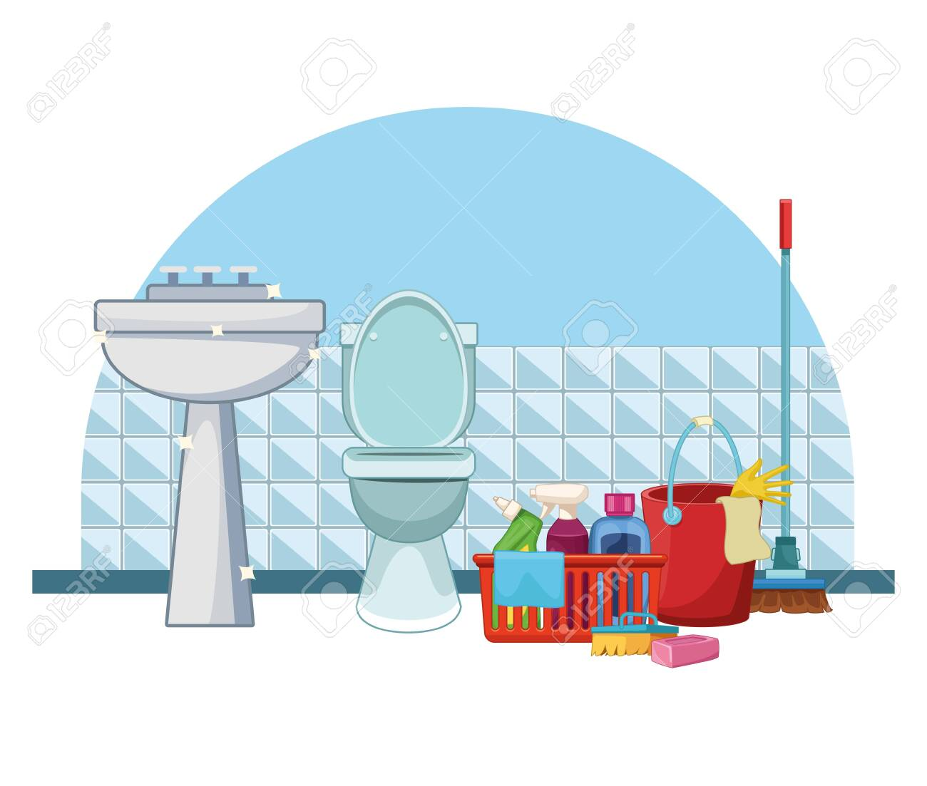Housekeeping Cleaning Bathroom Products Bucket Supplies With Royalty Free Cliparts Vectors And Stock Illustration Image 124377733
