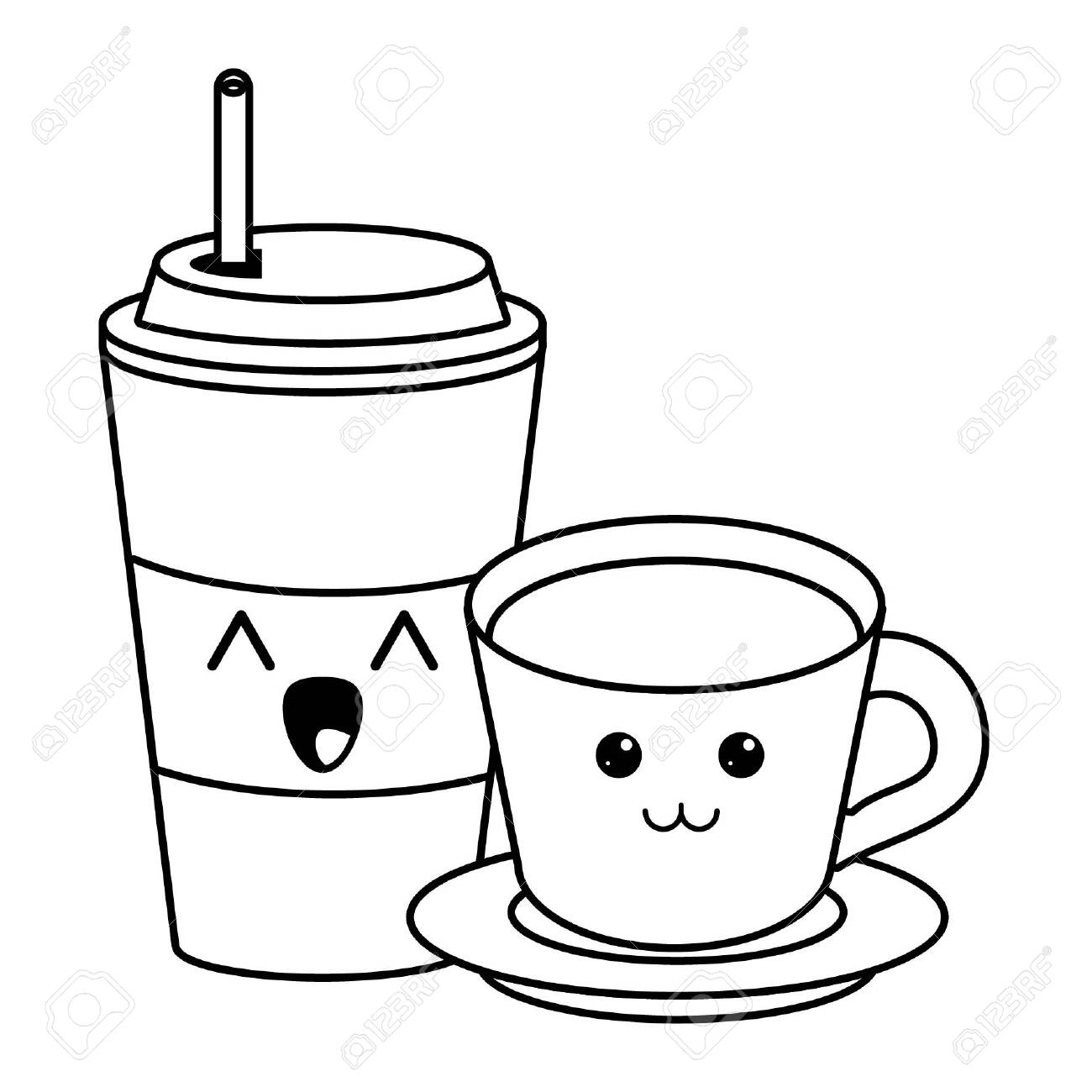 Ice Coffee Cup And Drink Hot Cute Kawaii Cartoon Vector Illustration Royalty Free Cliparts Vectors And Stock Illustration Image 124559000