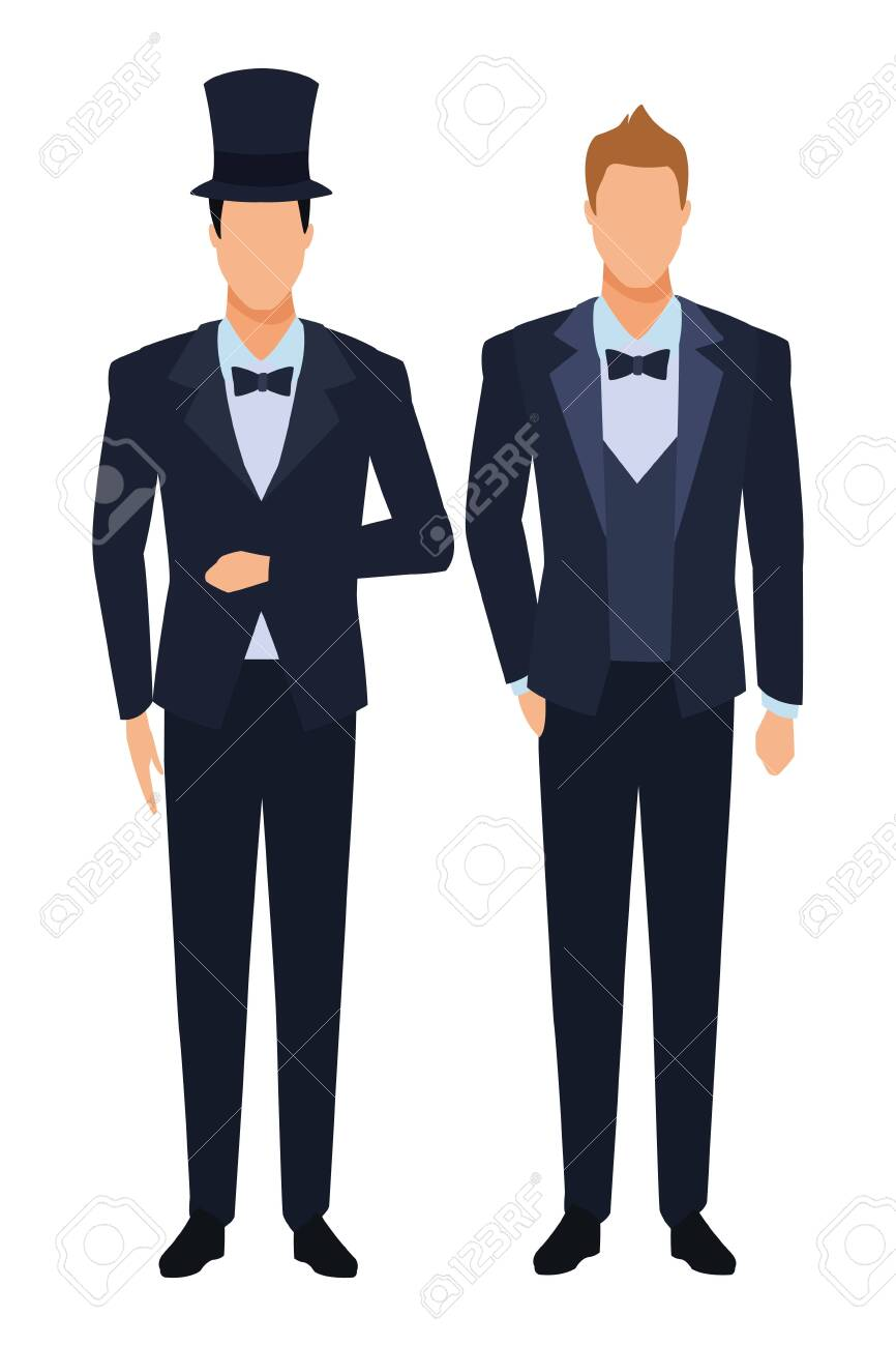 men wearing tuxedo avatar cartoon characters with bow tie and..