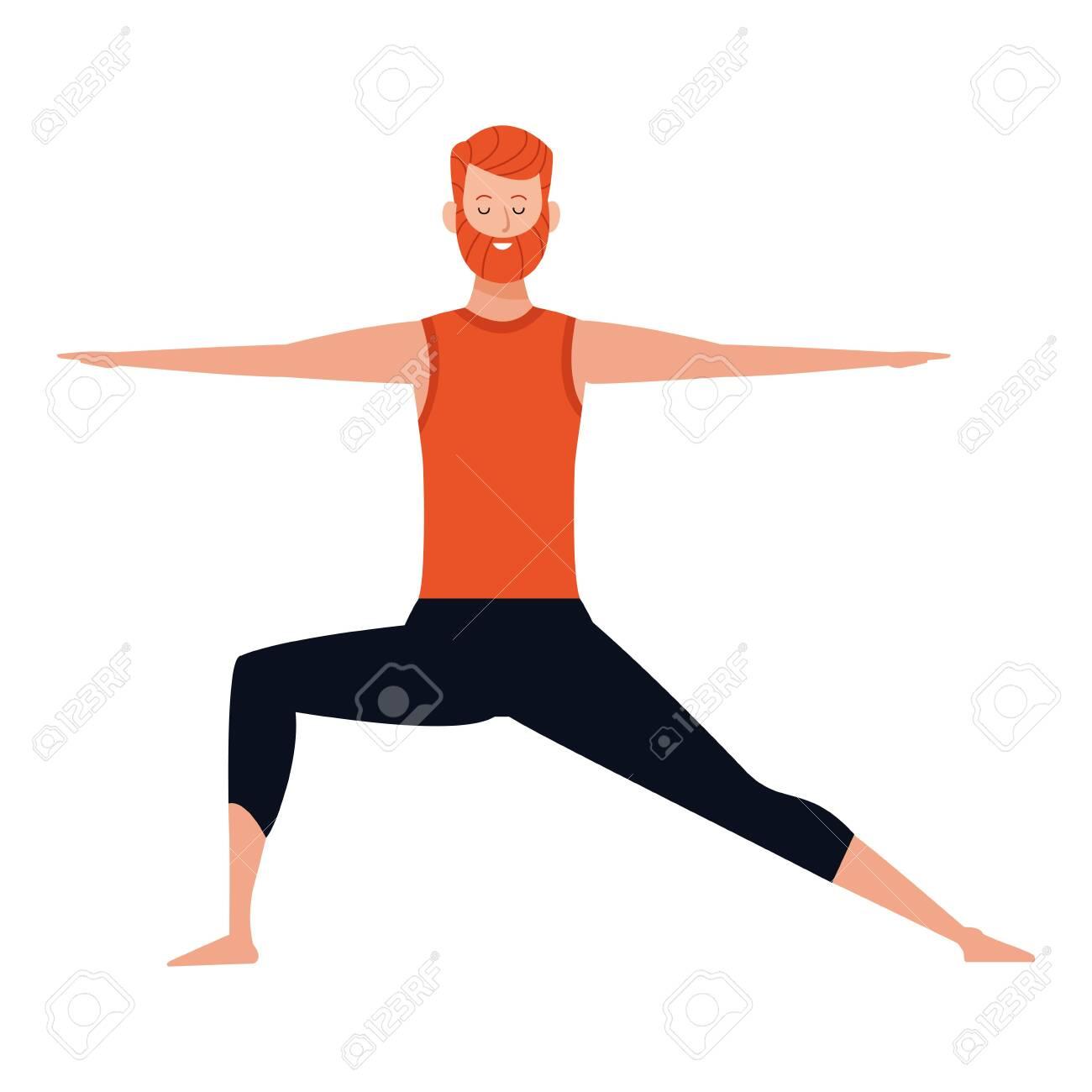Man Yoga Pose Avatar Cartoon Character Vector Illustration Graphic Royalty Free Cliparts Vectors And Stock Illustration Image 124704141