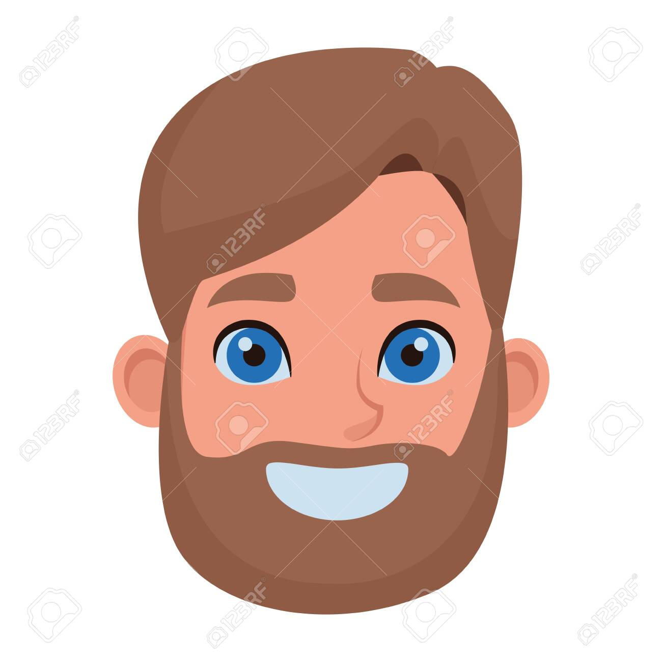 Man With Beard And Blue Eyes Profile Picture Avatar Cartoon