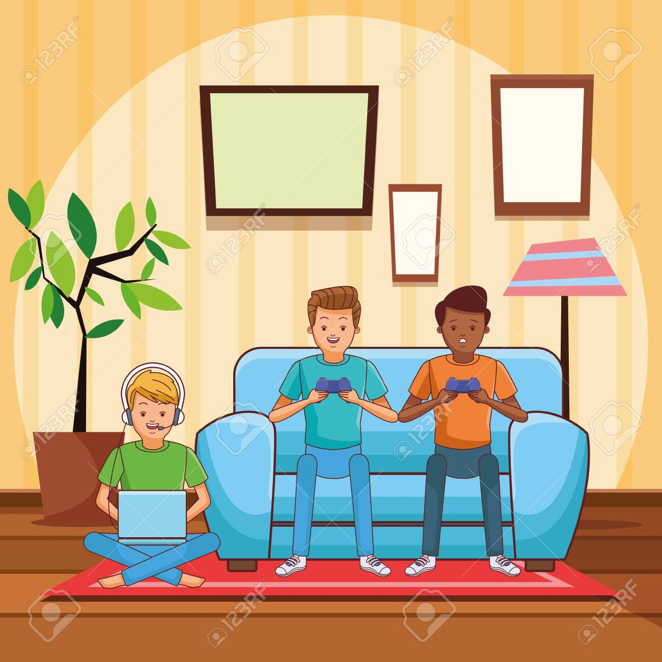 Video Game Scene Young Men Friends Playing On Couch Cartoon