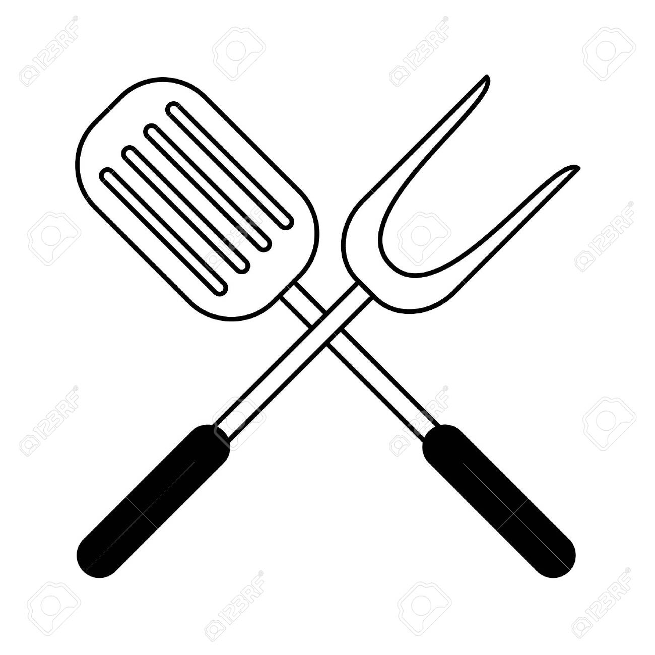 restaurant food and cuisine crossed kitchen spatula and big fork