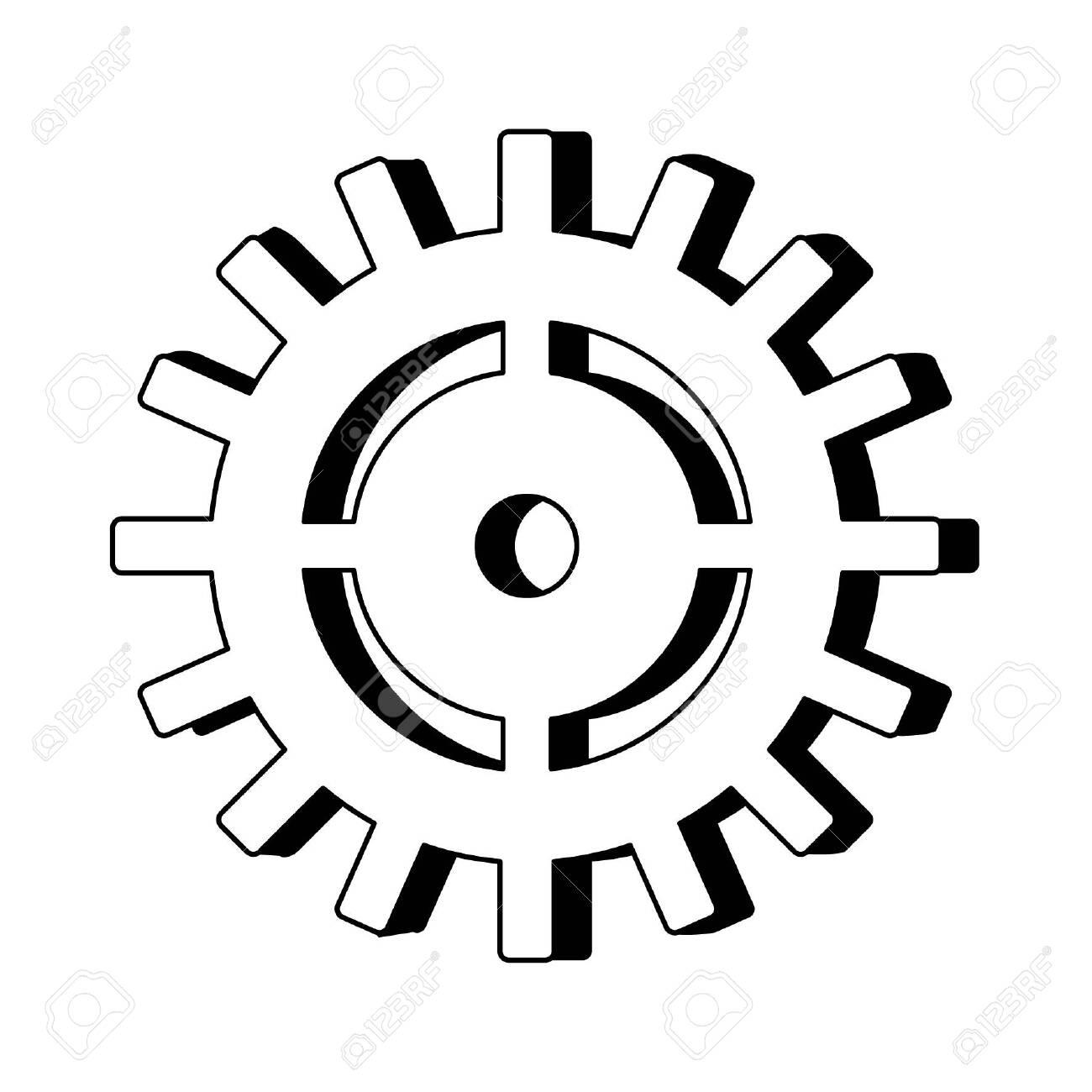 Gear machinery symbol isolated cartoon vector illustration graphic design - 125357105