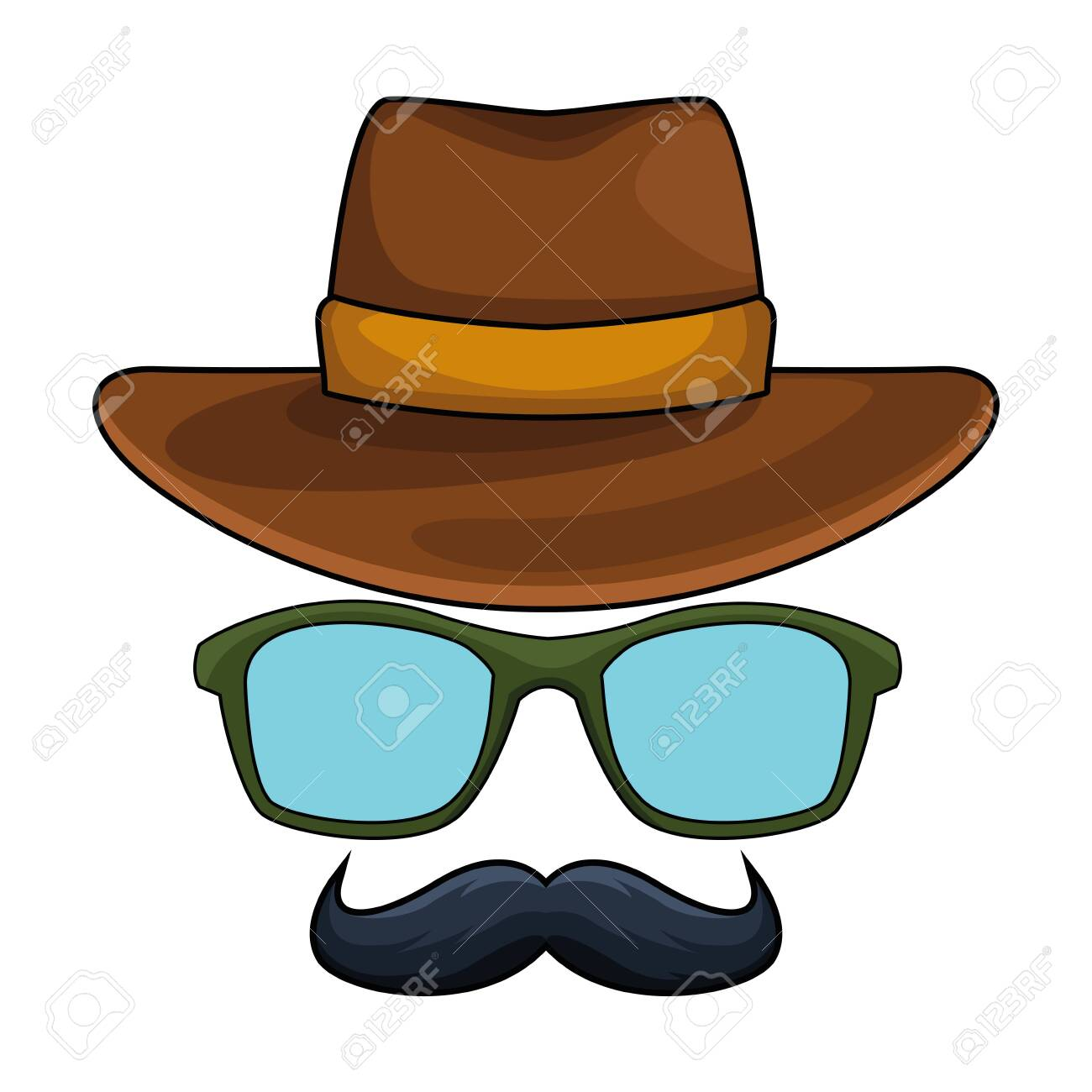 cowboy hat, glasses and moustache disguise icon cartoon vector illustration graphic design - 125410695