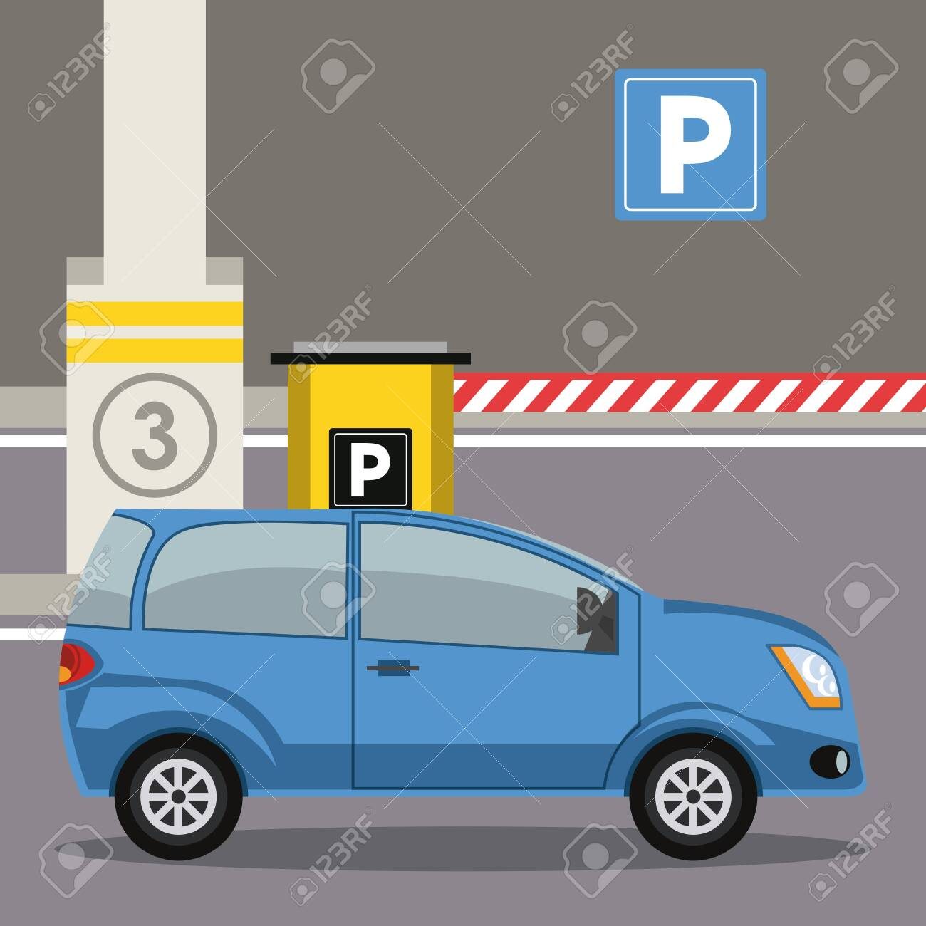 Car parked in lot with parking meter at city vector illustration graphic design - 125429331
