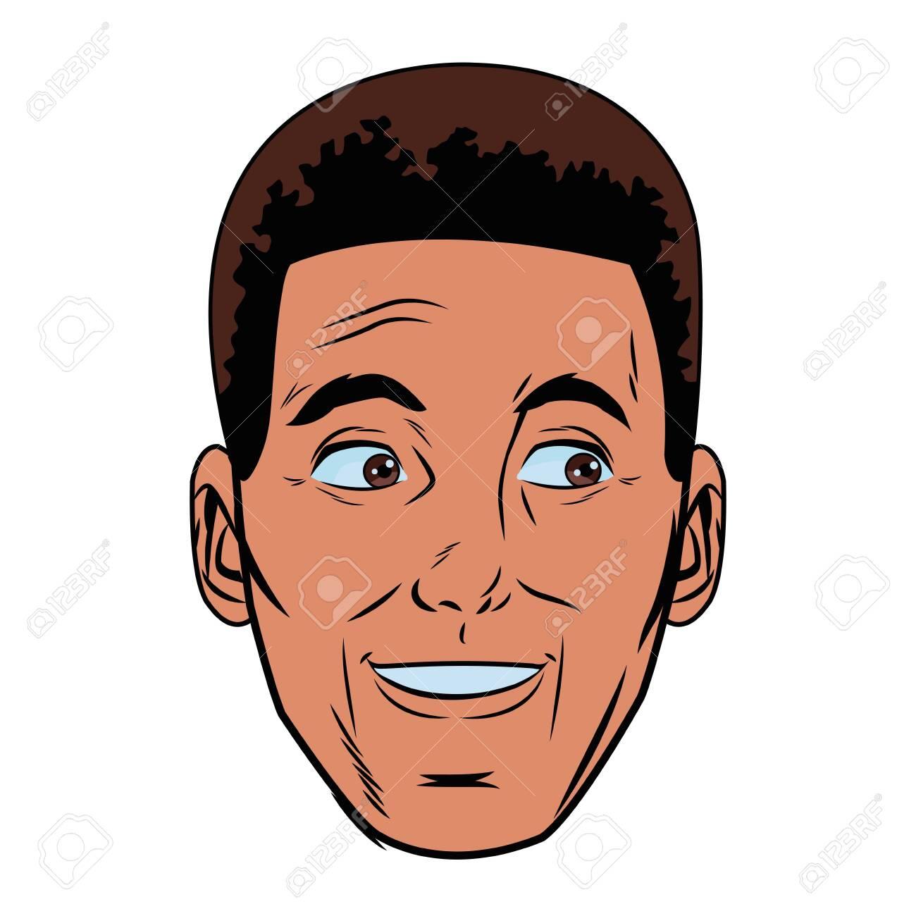 afroamerican man face avatar profile picture cartoon character