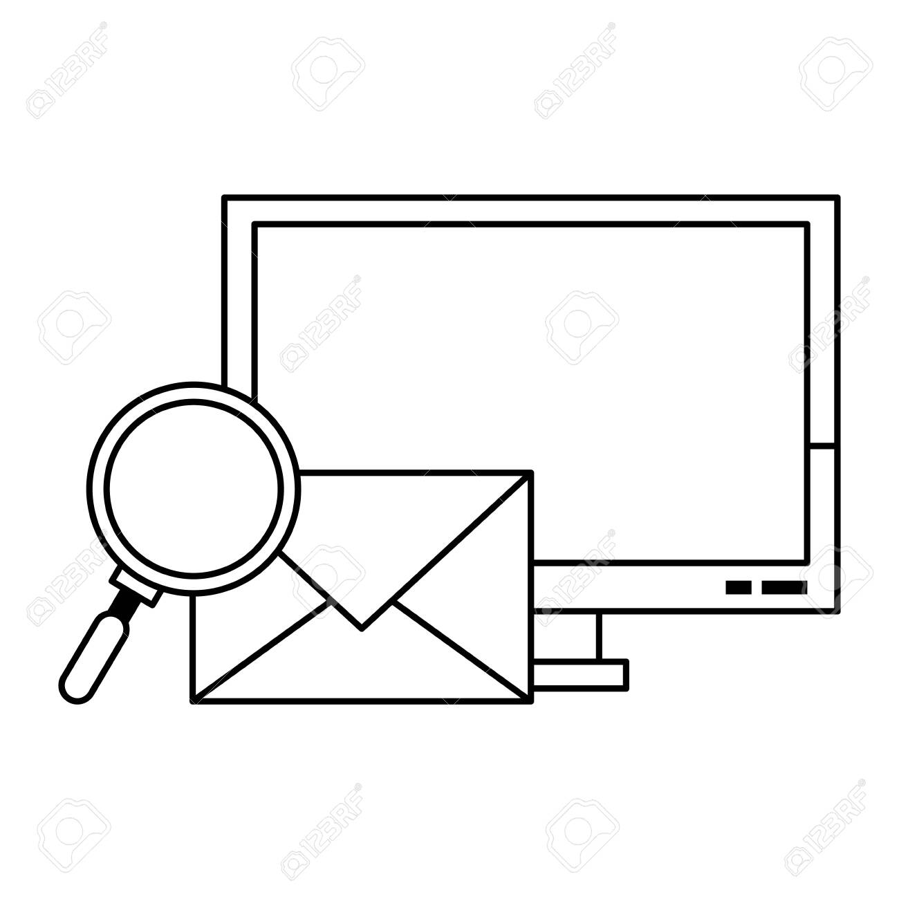 Computer email search business correspondance vector illustration graphic design - 125980294