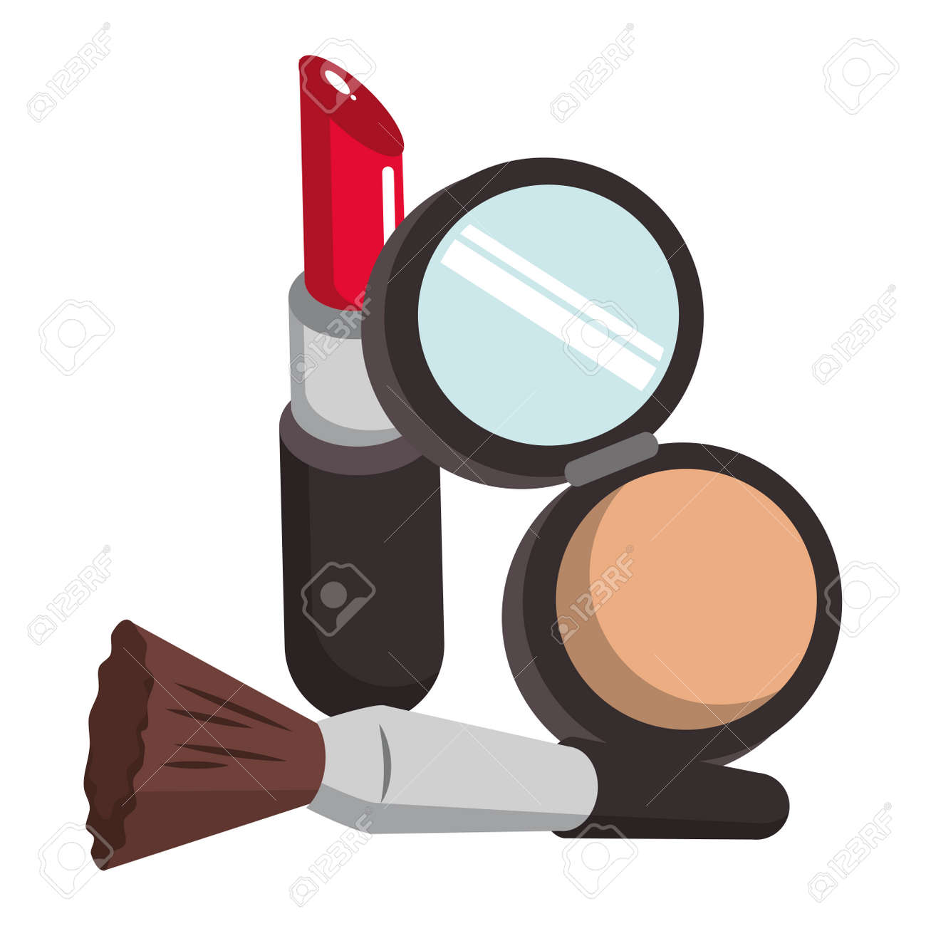 Make up and women fashion beauty powder and brush with lipstick vector illustration graphic design - 126123889