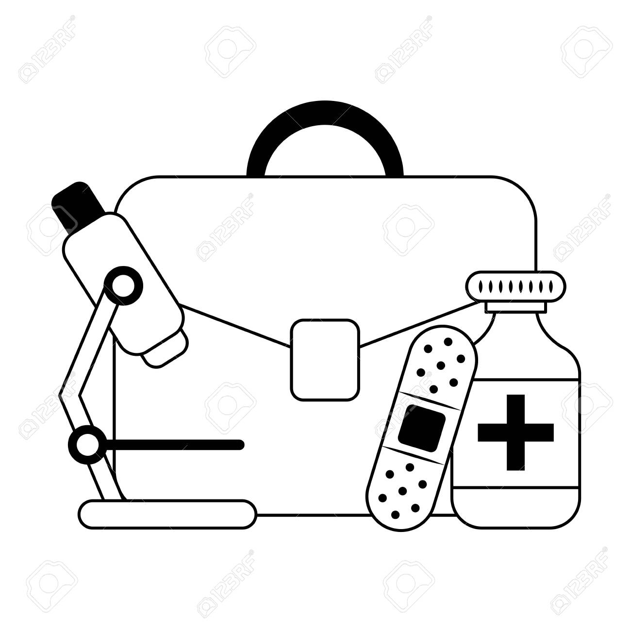 business briefcase and medical supplies vector illustration graphic