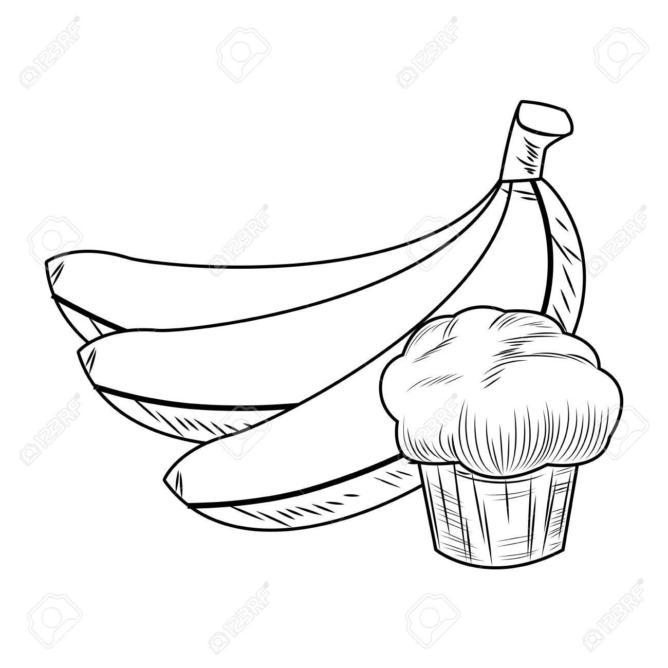 Fresh Fruit Nutrition Healthy Grouped Bananas And Muffin Black Royalty Free Cliparts Vectors And Stock Illustration Image 126380558