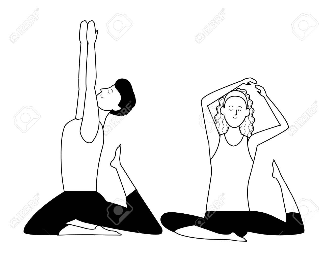 Couple Yoga Poses Avatars Cartoon Character Headband Black And Royalty Free Cliparts Vectors And Stock Illustration Image 126869950