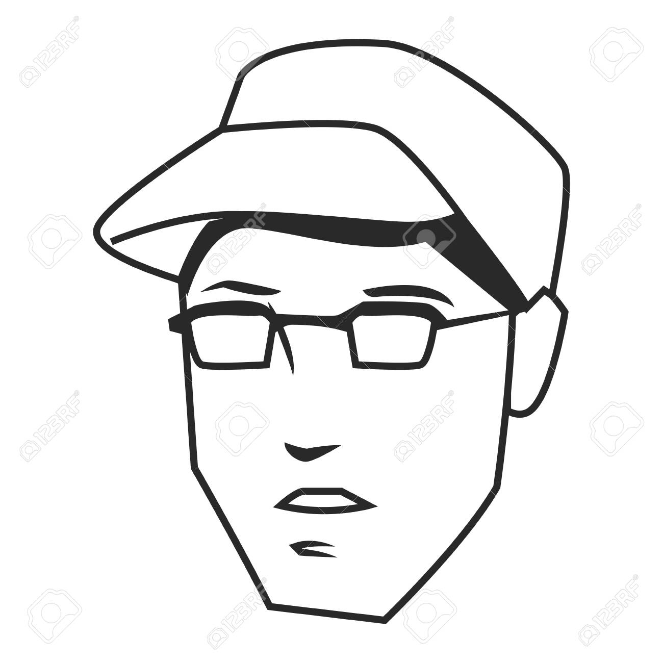Man Face Avatar Wearing Glasses And Hat In Black And White Cartoon