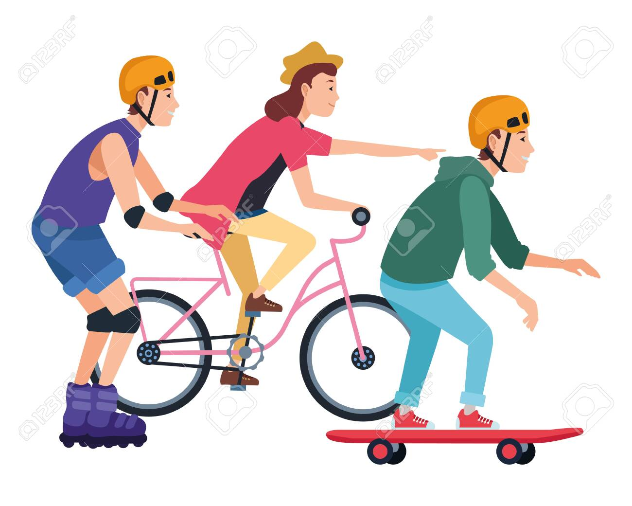 Young people riding with bicycles skateboard and rolling skates weating accesories ,vector illustration graphic design. - 128996117
