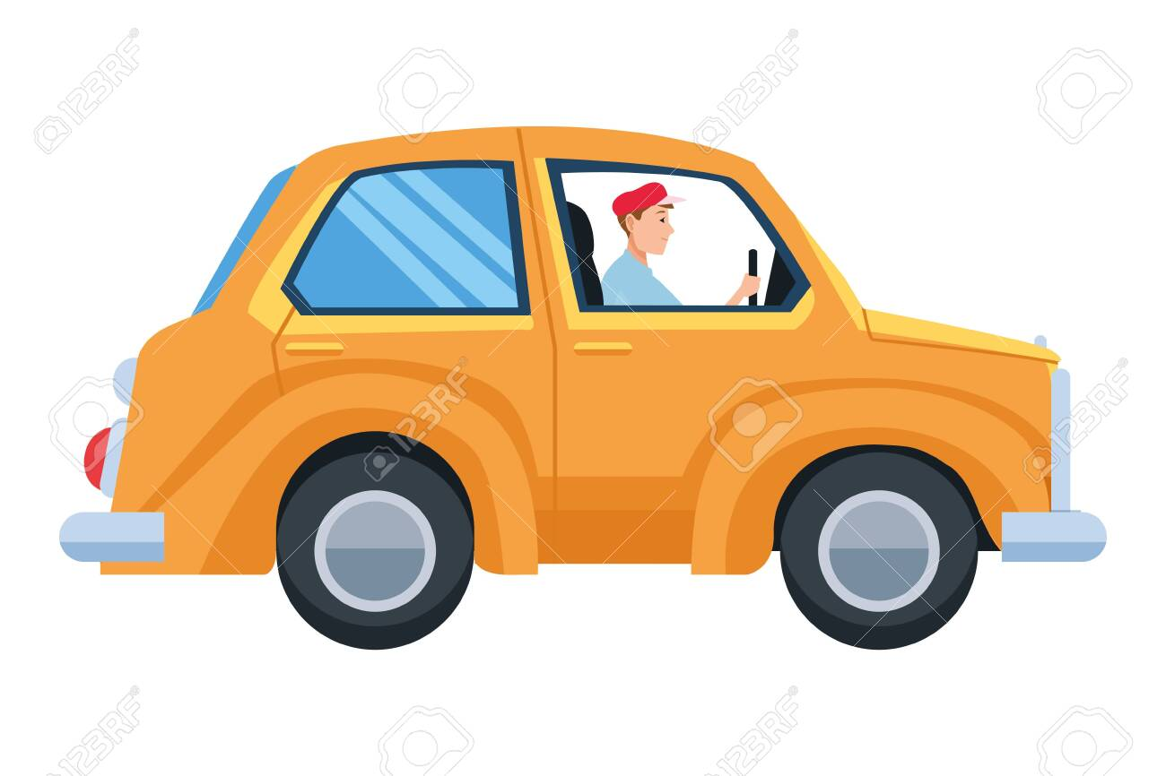 Man Driving Car Vehicle Sideview Cartoon Vector Illustration Royalty Free Cliparts Vectors And Stock Illustration Image 129127976