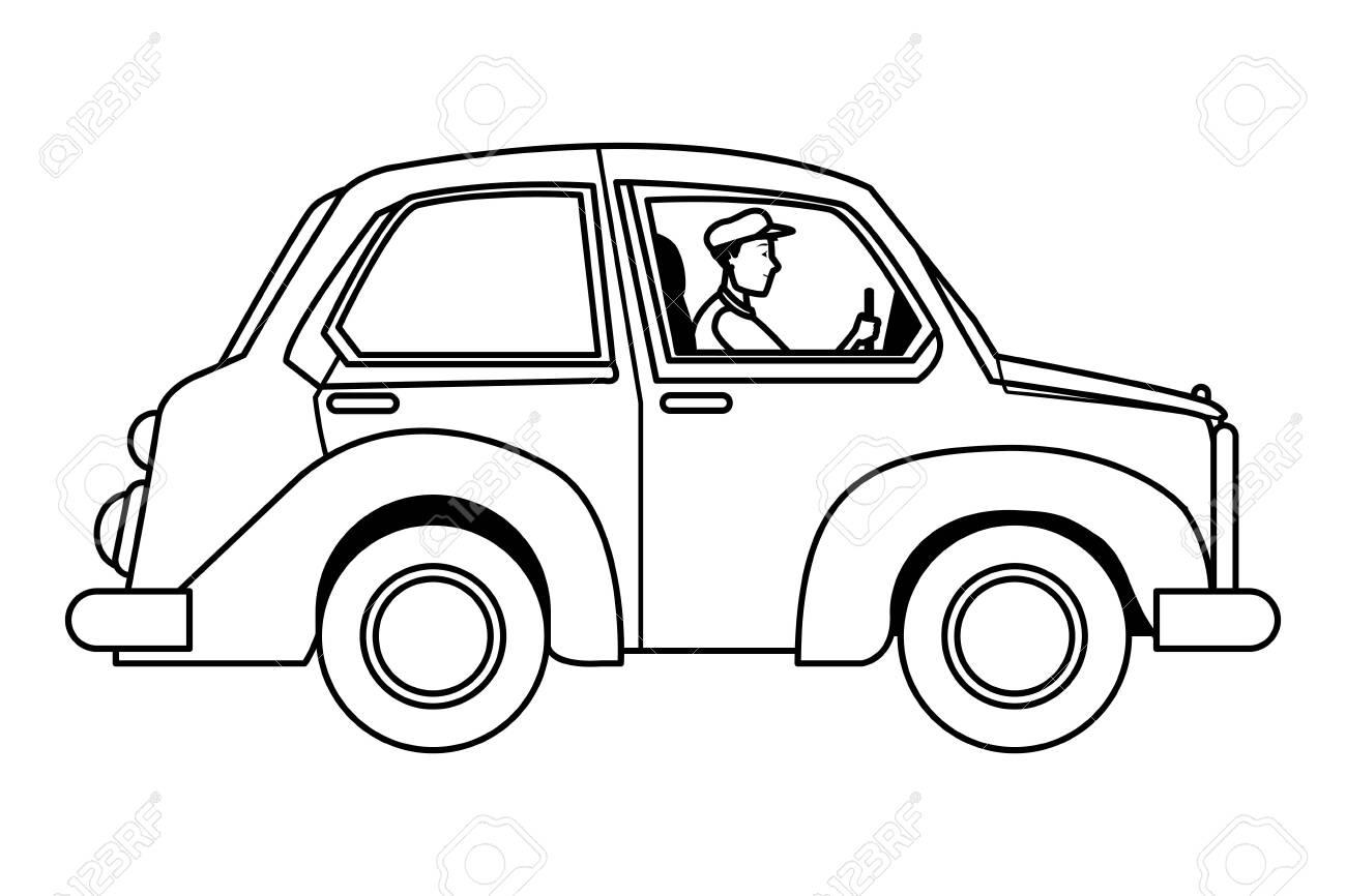 Man Driving Car Vehicle Sideview Cartoon Vector Illustration Royalty Free Cliparts Vectors And Stock Illustration Image 129128063