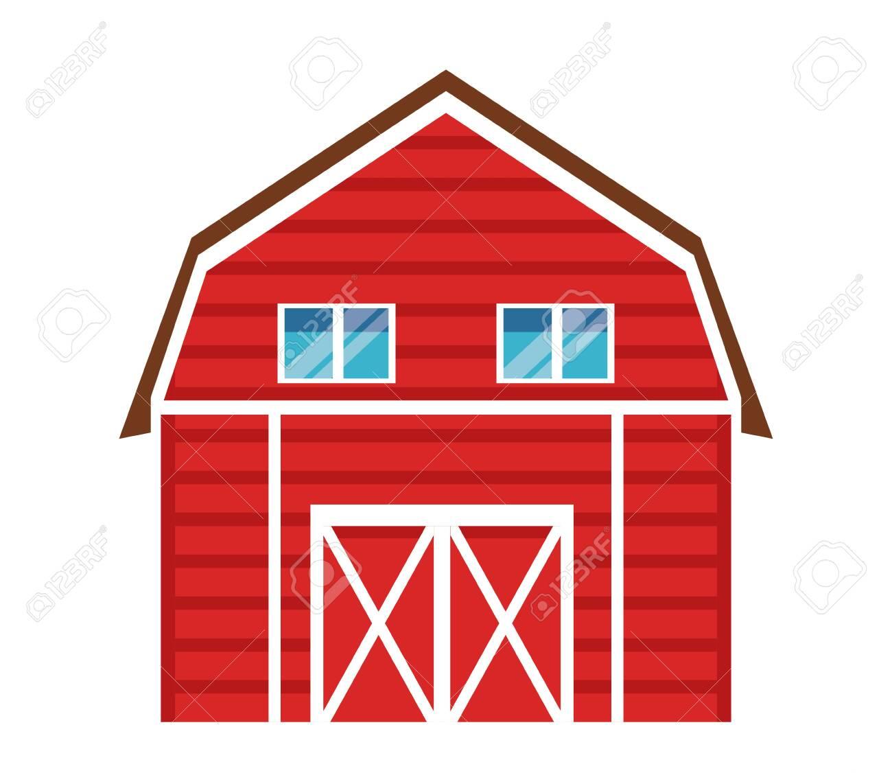 Farm Animals And Farmer Barn Icon Cartoon Vector Illustration