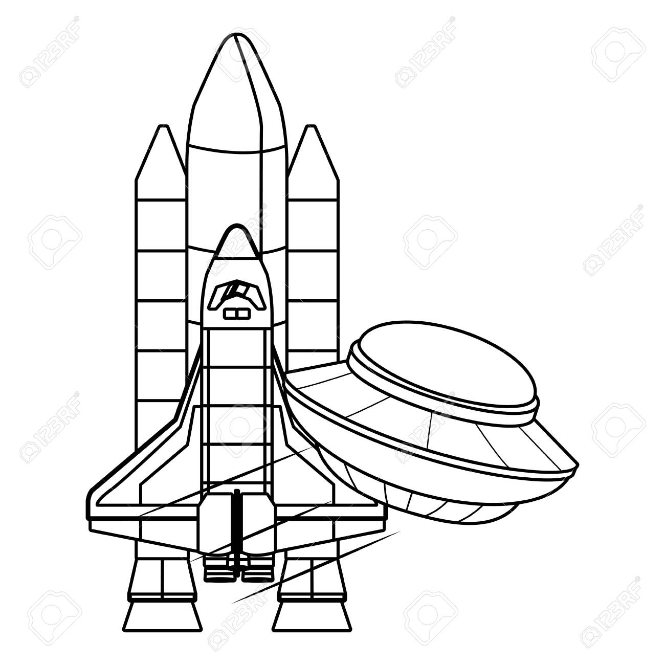 Spaceship Clipart Space Vehicle - Space Shuttle Black And White, HD Png  Download - kindpng