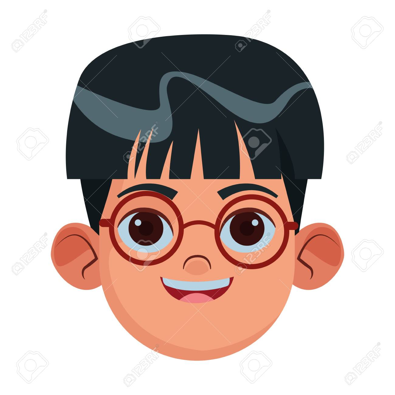Little Kid Boy With Glasses Avatar Cartoon Character Profile
