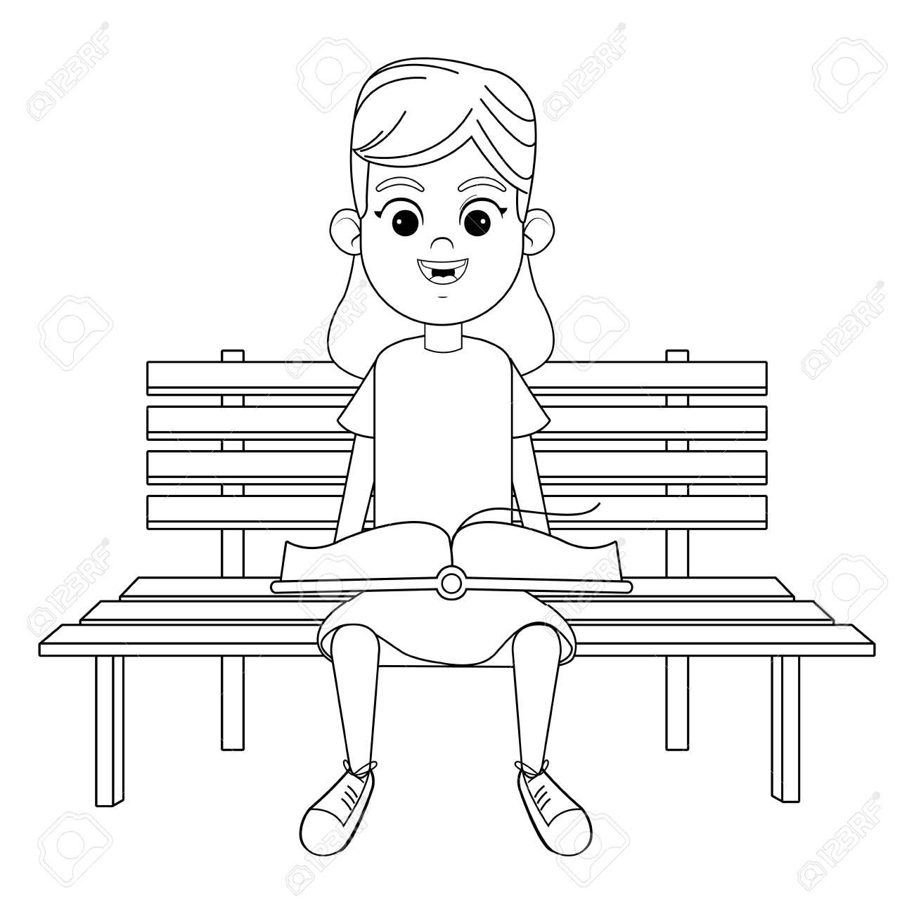 Phenomenal Young Girl Sitting On A Wooden Bench Reading A Book Avatar Cartoon Machost Co Dining Chair Design Ideas Machostcouk