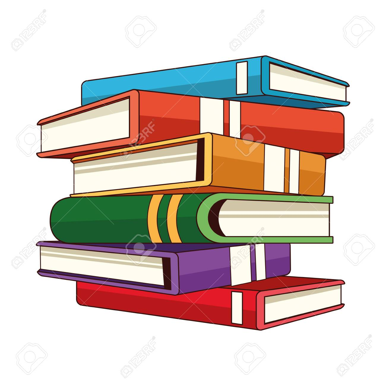 Stacked Closed Books Side View Icon Cartoon Isolated Vector ...