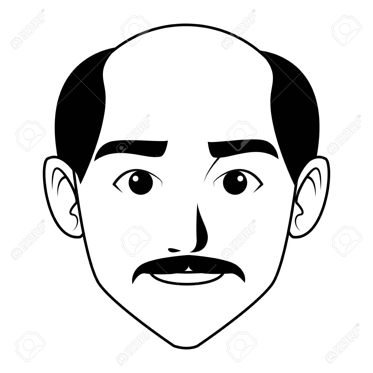 black bald cartoon character indian man face with moustache and bald profile picture avatar..