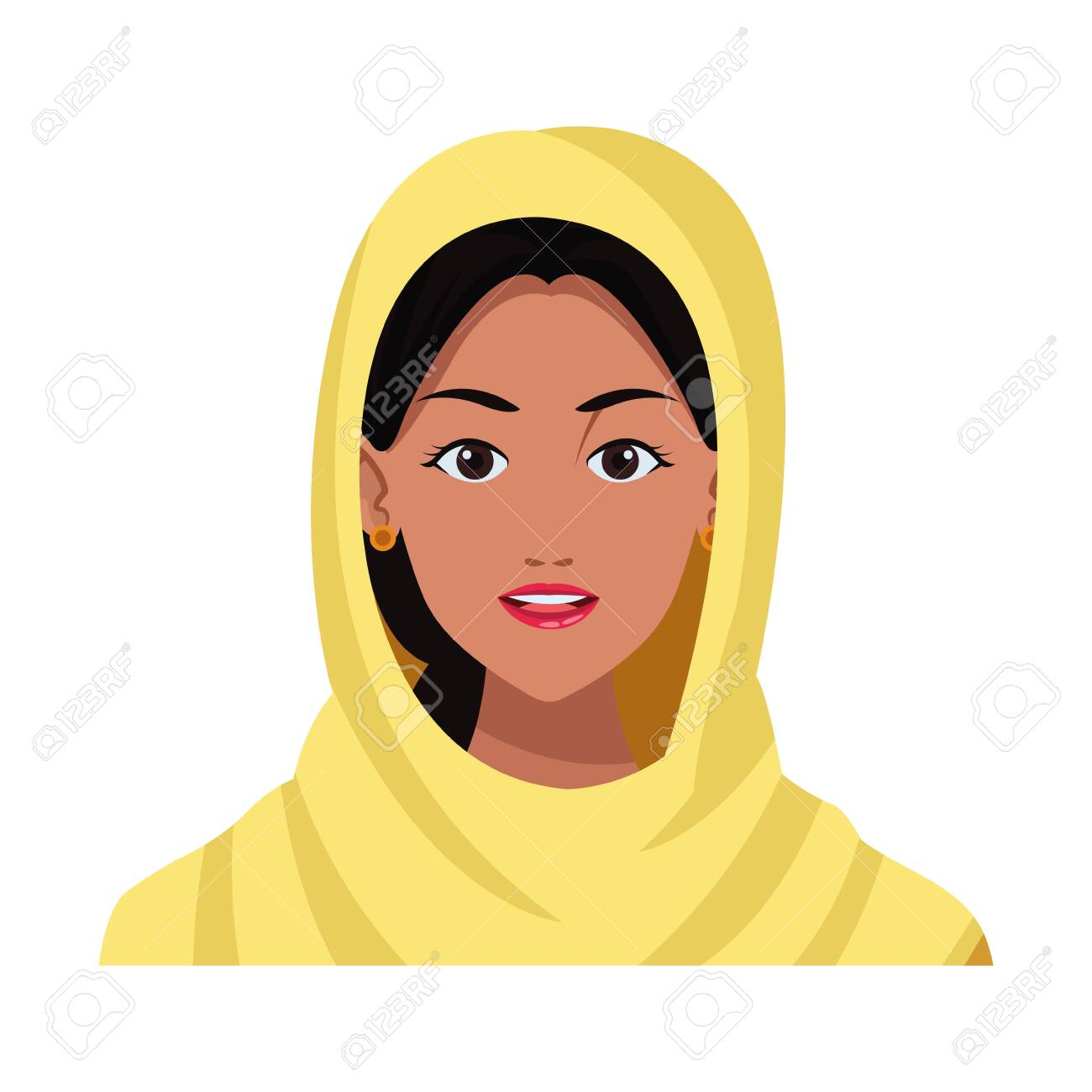 Indian Woman Face With Hijab Profile Picture Avatar Cartoon Character